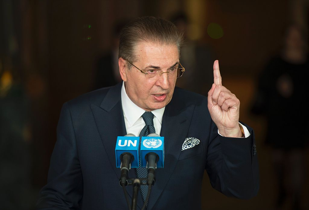 Srgjan Kerim, former Minister of Foreign Affairs of the former Yugoslav Republic of Macedonia and President of the 62nd Session of the UN General Assembly, speaks with reporters after being interviewed as a candidate for the position of UN Secretary-General April 14, 2016 at the United Nations in New York. / AFP / DON EMMERT        (Photo credit should read DON EMMERT/AFP/Getty Images)