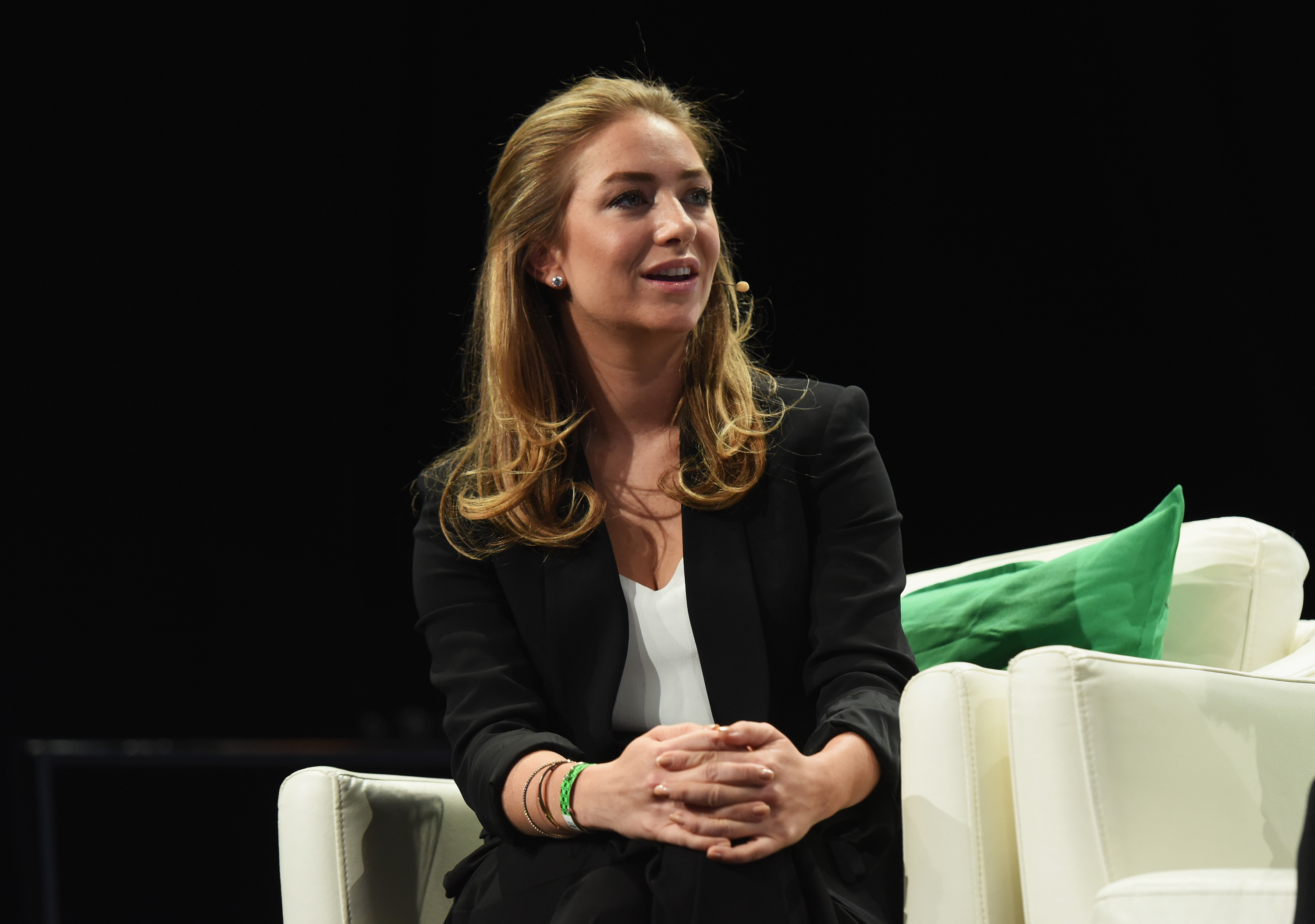 Co-founder and CEO of Bumble Whitney Wolfe speaks onstage during TechCrunch Disrupt NY 2016 at Brooklyn Cruise Terminal on May 11, 2016 in New York City.  (Noam Galai--Getty Images for TechCrunch)