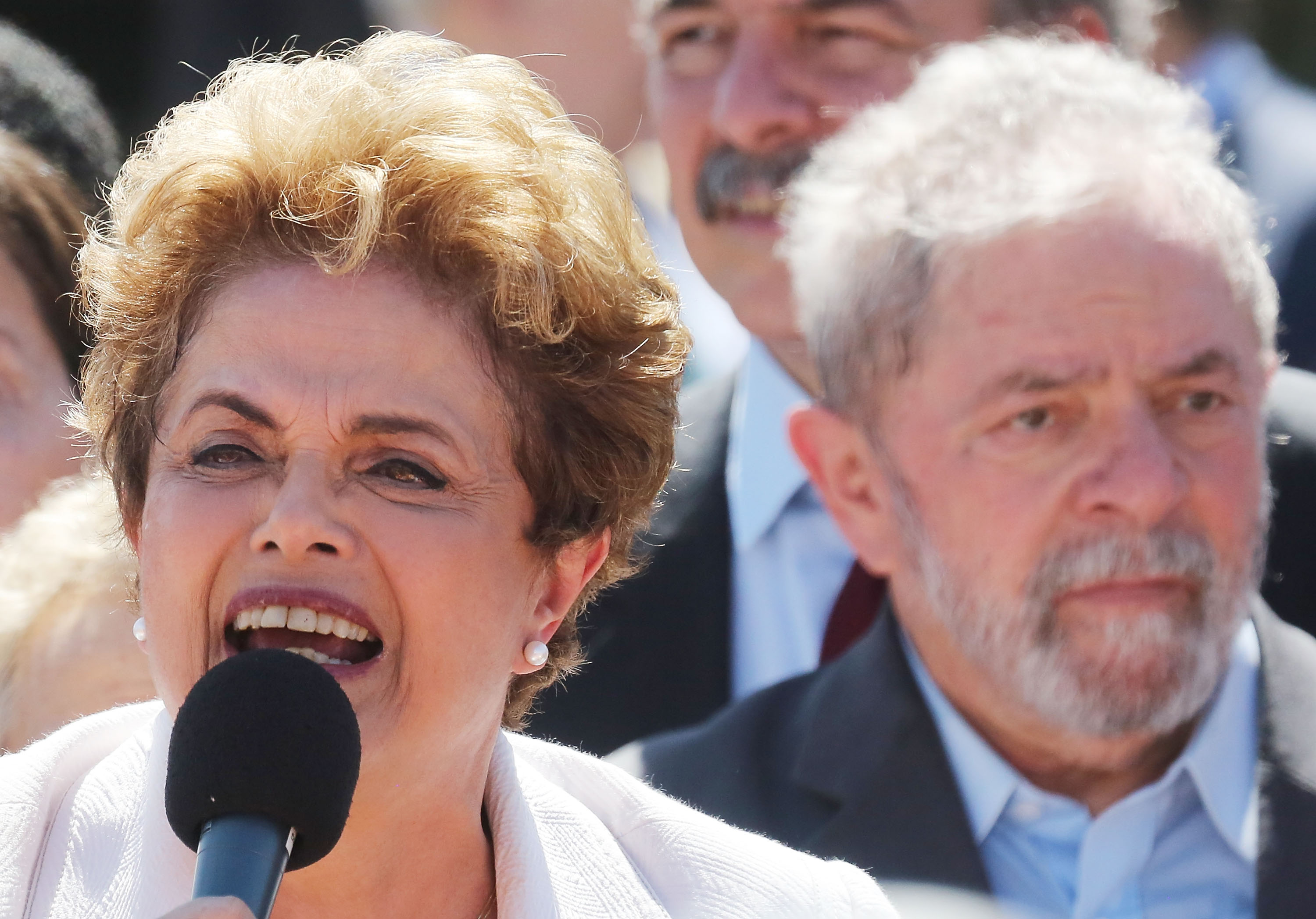 Suspended Brazilian President Dilma Rousseff and former President Luiz Inacio Lula da Silva at the Planalto presidential palace on May 12, 2016 in Brasilia, Brazil.