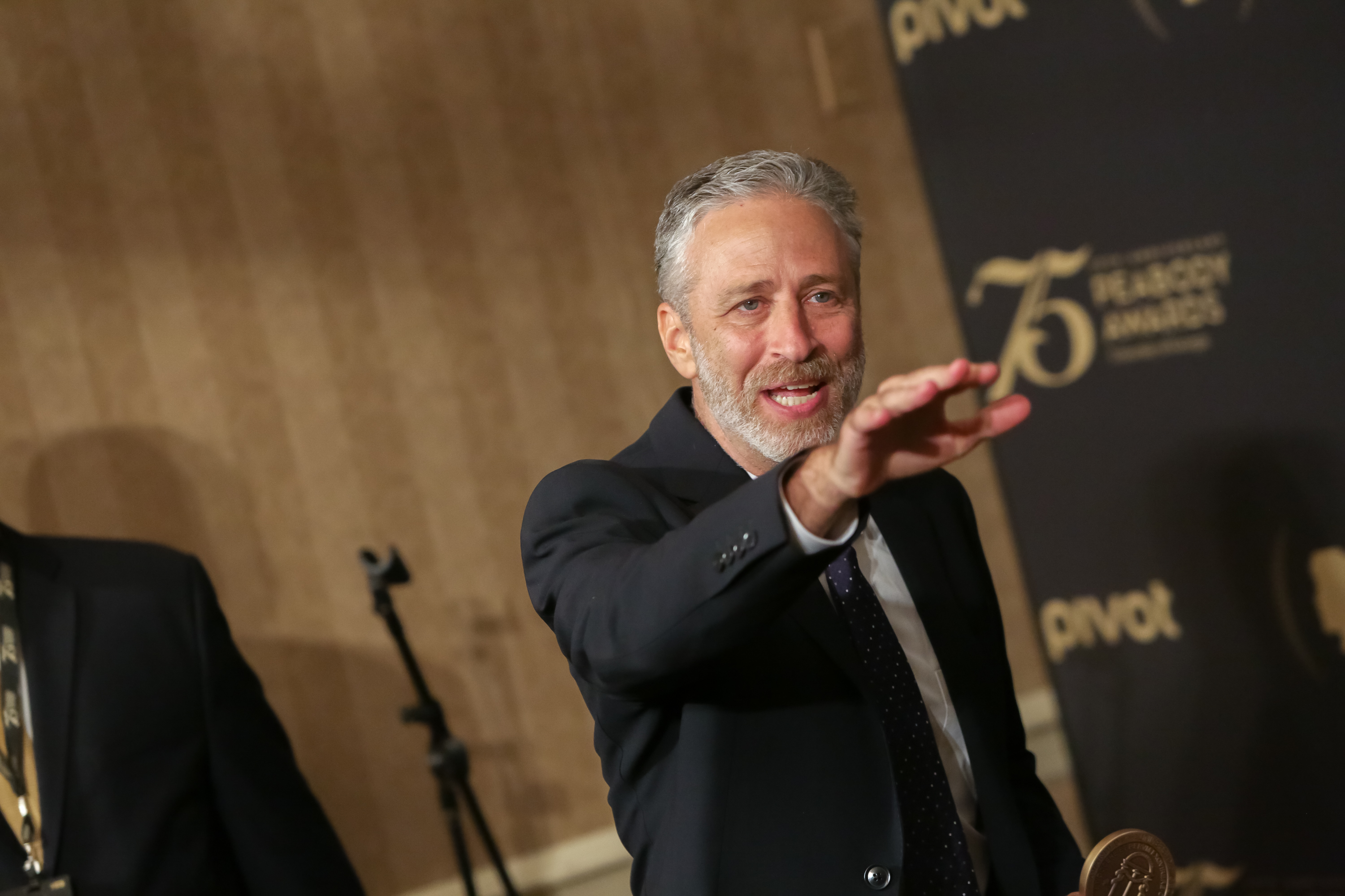 Institutional Award Recipient, The Daily Show with Jon Stewart, comedian/television host Jon Stewart is seen entering the press room during the 75th Annual Peabody Awards Ceremony held at Cipriani Wall Street on May 21, 2016 in New York City.  (Photo by Brent N. Clarke/FilmMagic)