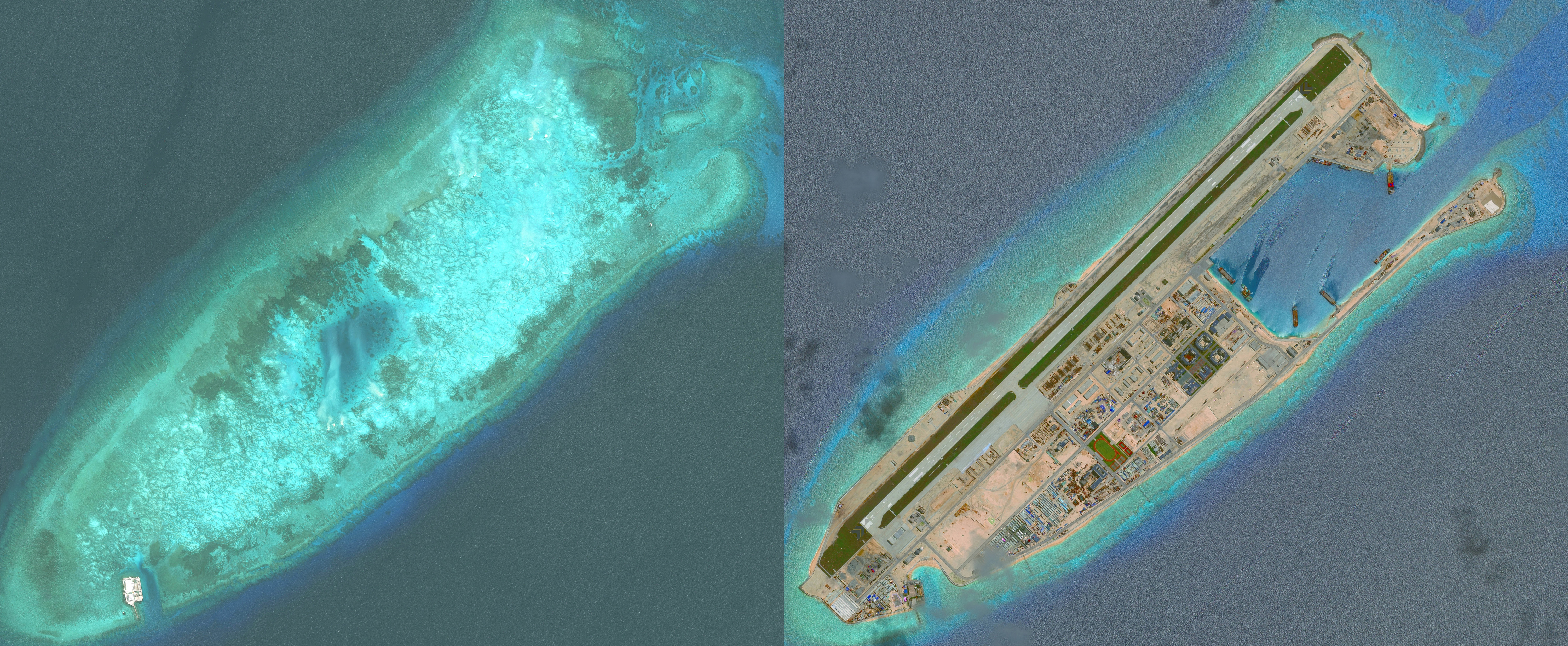 DigitalGlobe overview imagery comparing Fiery Cross Reef from May 31, 2014, to June 3, 2016. Fiery Cross is located in the western part of the Spratly Islands group.