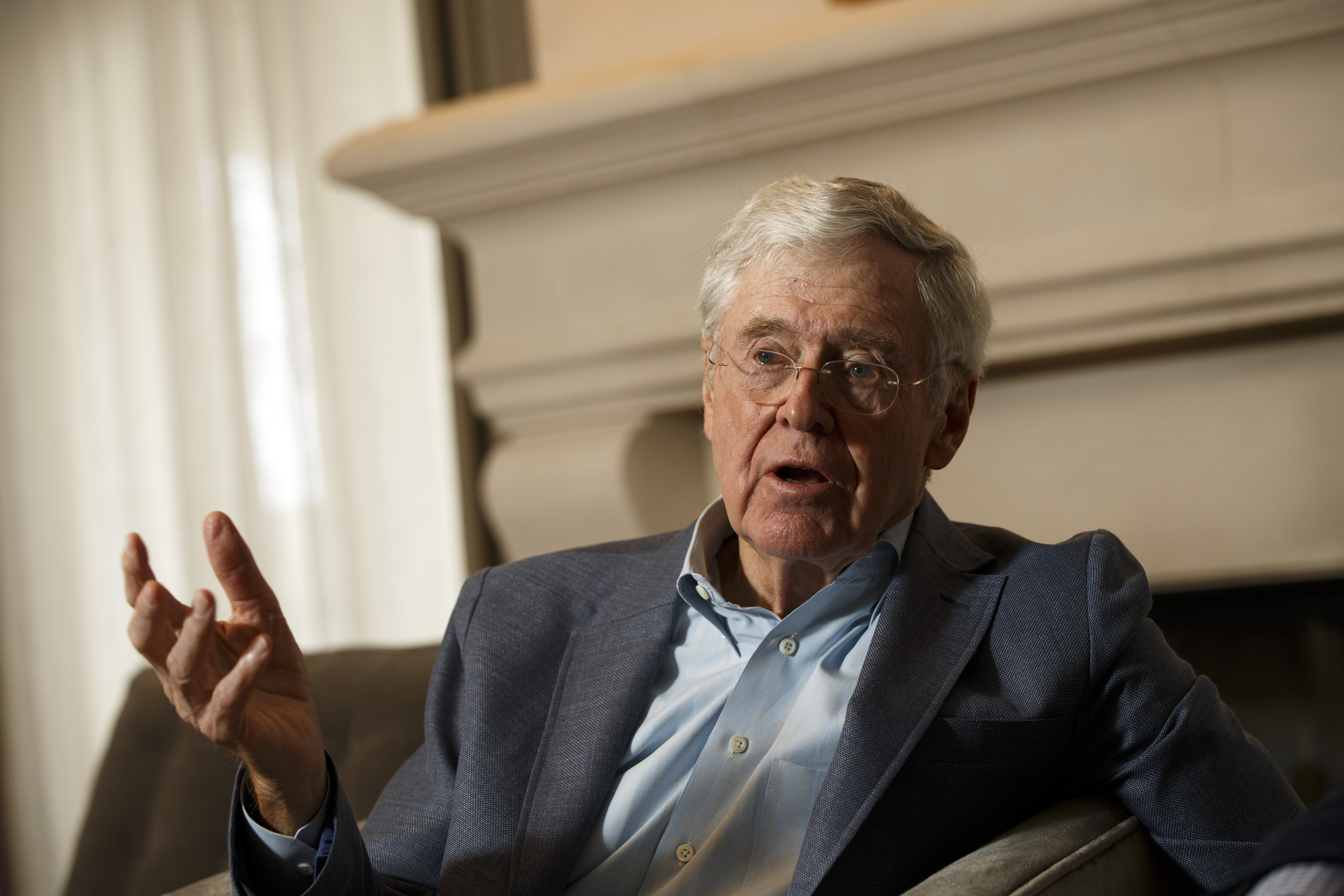 Charles Koch speaks during an interview with the Washington Post at the Freedom Partners Summit on Monday, August 3, 2015, in Dana Point, Calif.