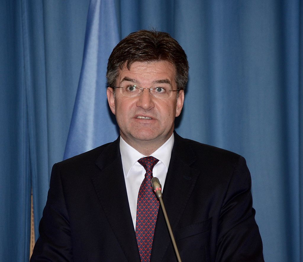 VIENNA, AUSTRIA - JUNE 13: Minister of Foreign Affairs of Slovakia Miroslav Lajcak delivers a speech during the ministerial meeting, held for 20th Anniversary of the Comprehensive Nuclear-Test-Ban Treaty Organization at the United Nations Office in Vienna, Austria on June 13, 2016. (Photo by Hasan Tosun/Anadolu Agency/Getty Images)