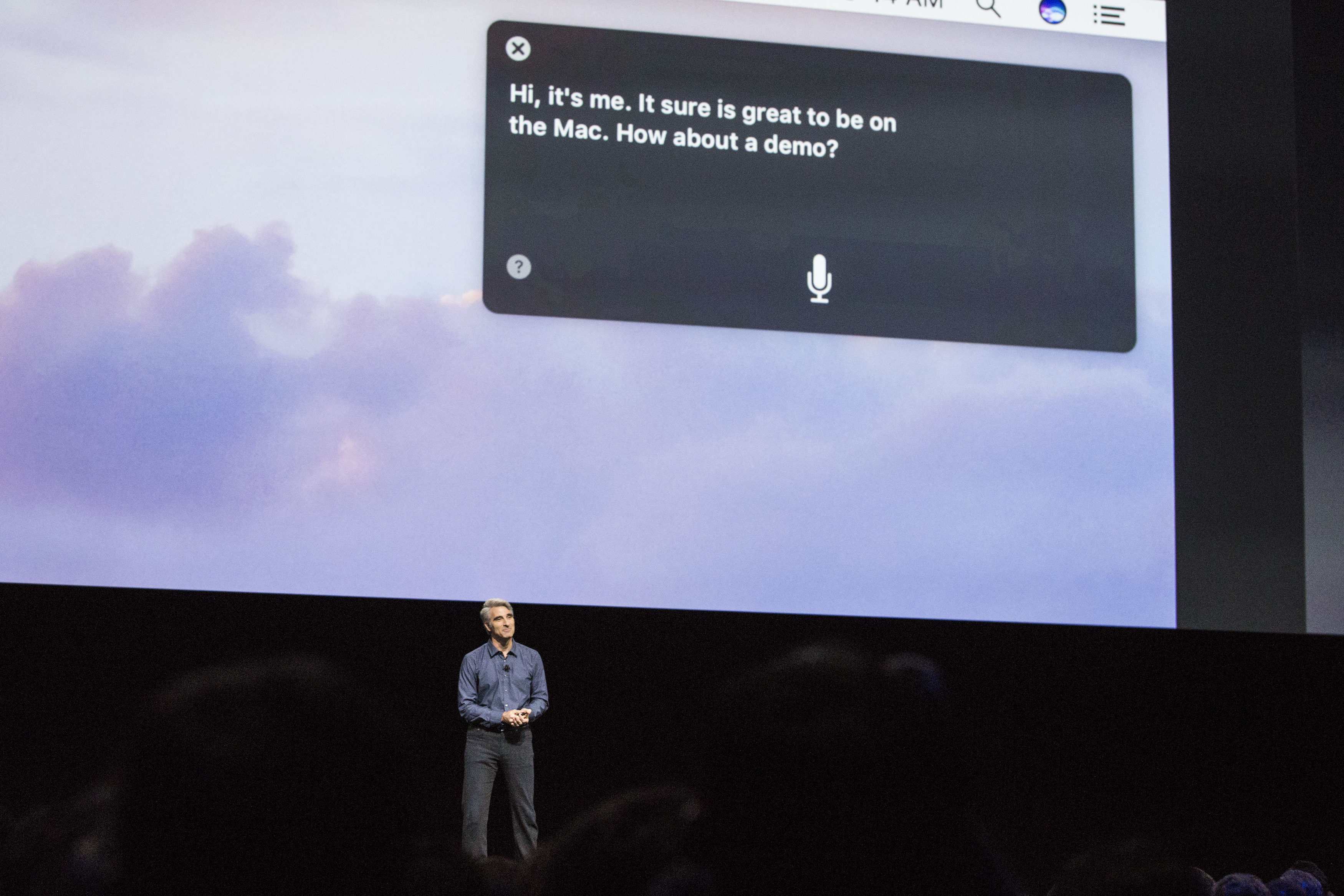 Craig Federighi, Apple's senior vice president of Software Engineering, introduces the new macOS Sierra software at an Apple event at the Worldwide Developer's Conference in San Francisco on June 13, 2016.