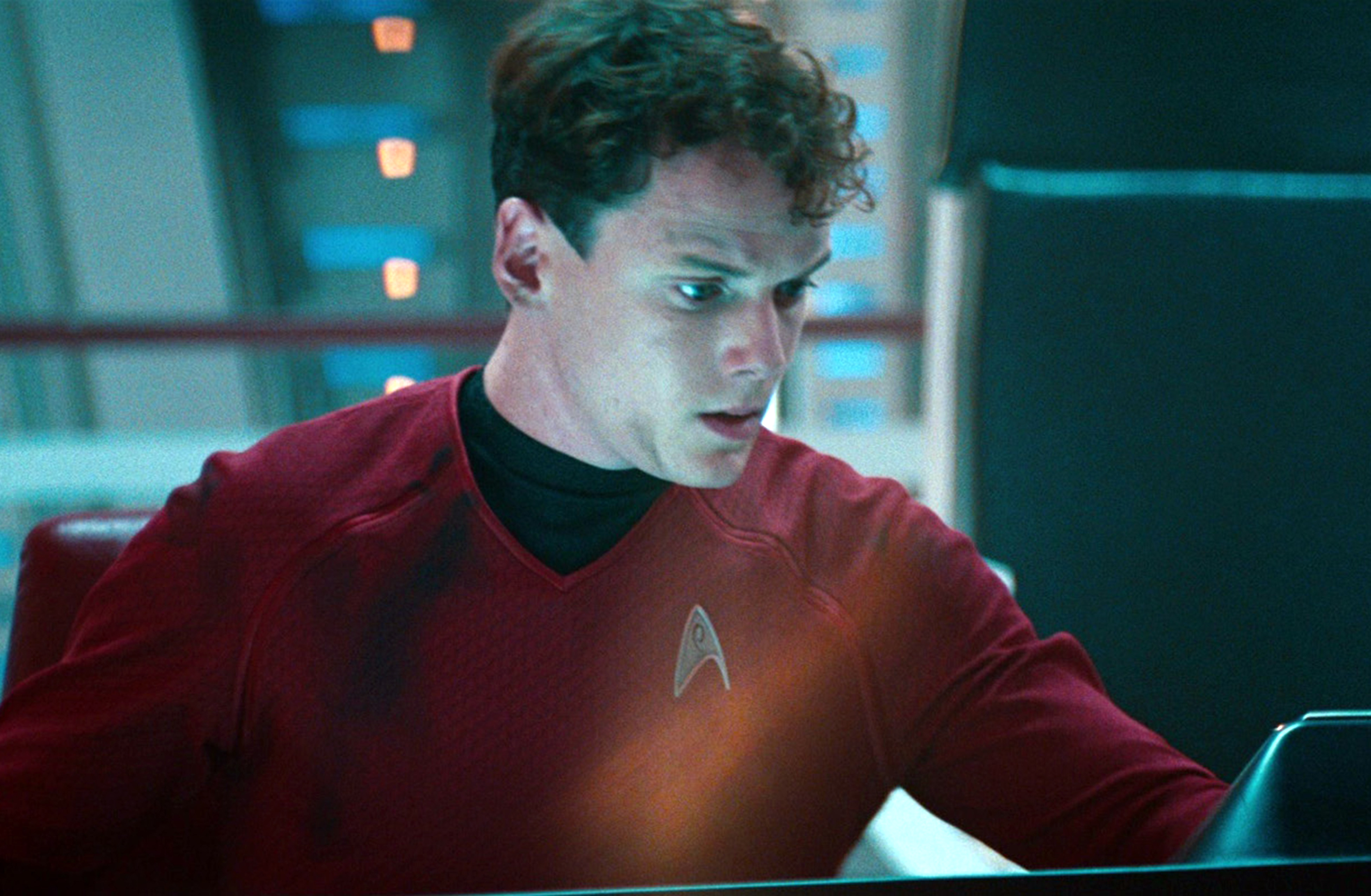 Anton Yelchin as Ensign Pavel Chekov in the 2013 movie,  Star Trek: Into Darkness.