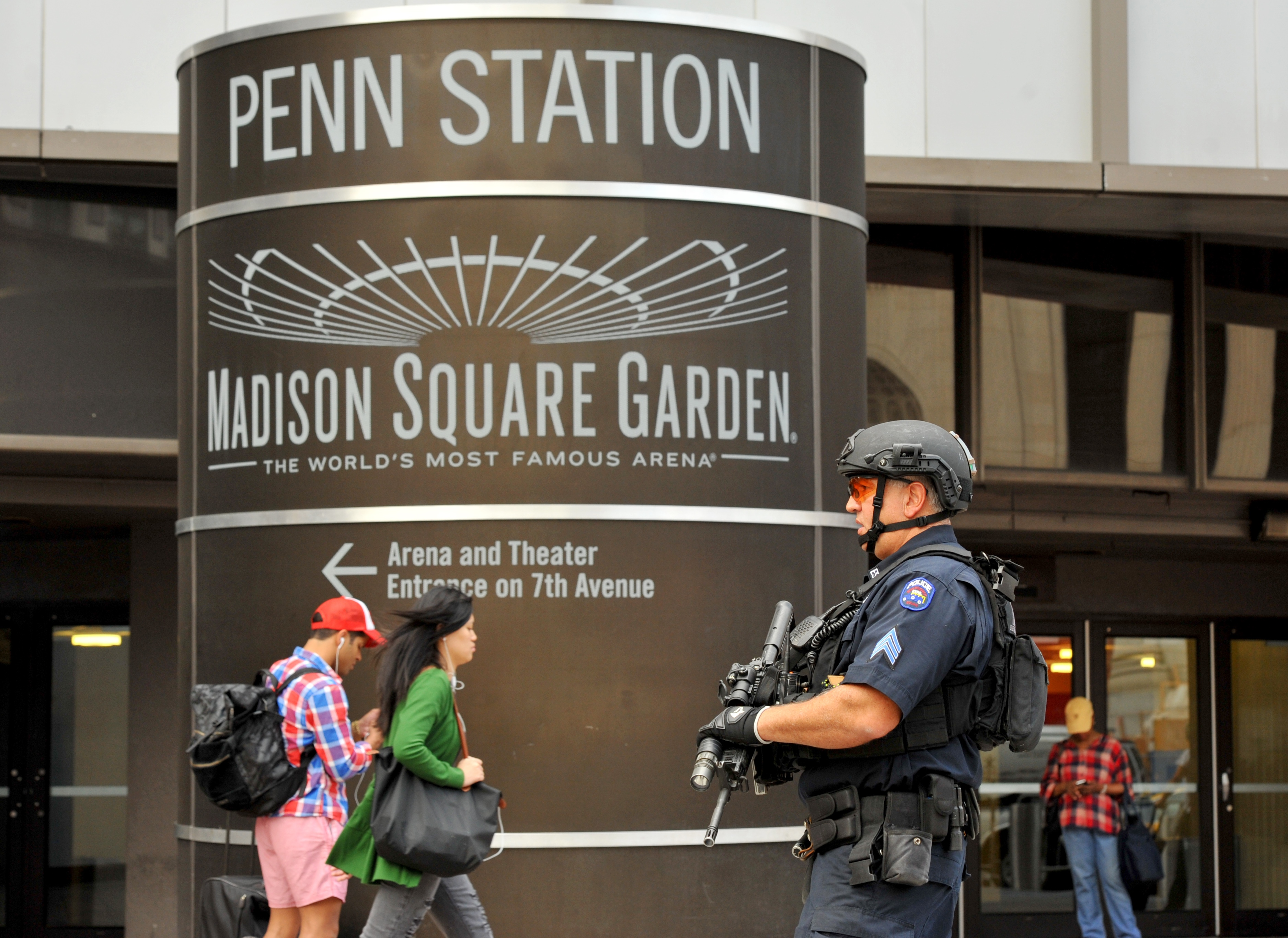 New York Police Department Emergency Service Units patrol outside Penn Station before the start of theNew York Police Department 2016 graduation class ceremony at Madison Square Garden on July, 1, 2016.