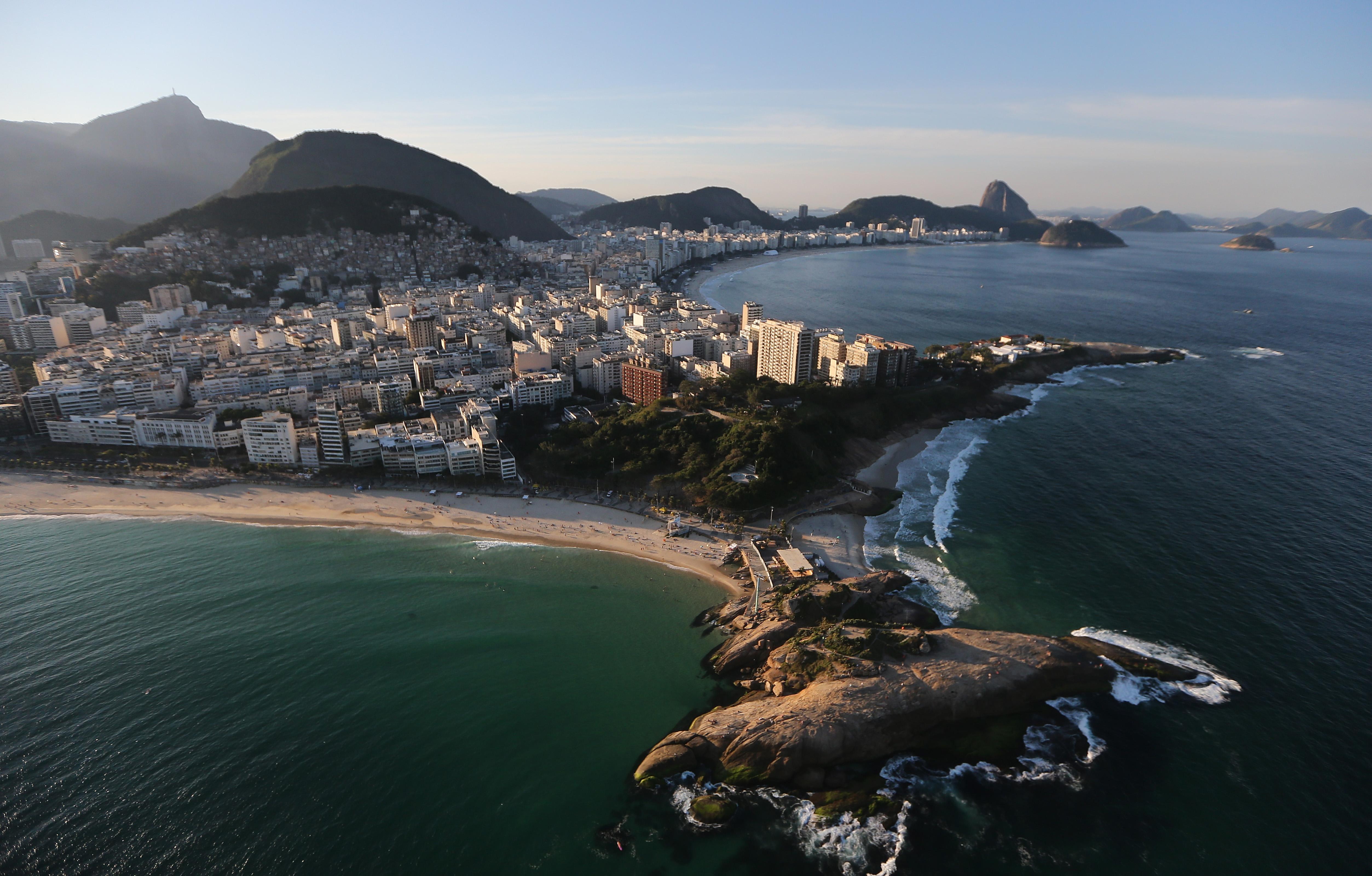 Ipanema beach, Arpoador rock and Copacabana Beach, one of the Olympic venue locations, stand on July 4, 2016 in Rio de Janeiro, Brazil.
