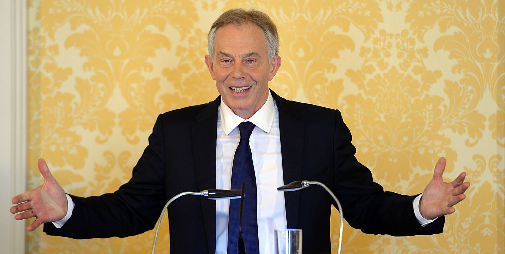 Former Prime Minister Tony Blair speaks during a news conference while responding to the Chilcot report at Admiralty House in London on July 6, 2016.