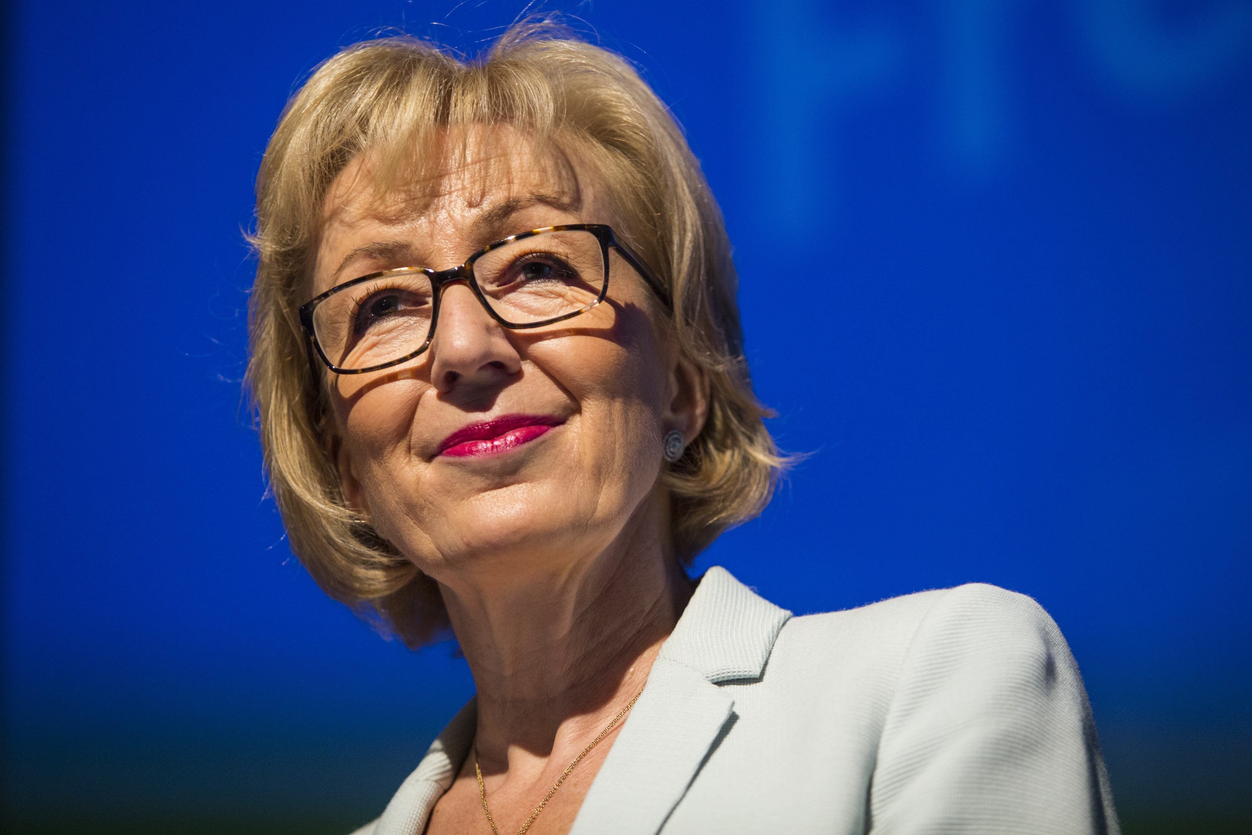 Andrea Leadsom, British Energy Minister and Conservative Party leadership contender, speaks at a campaign rally in London on July 7, 2016