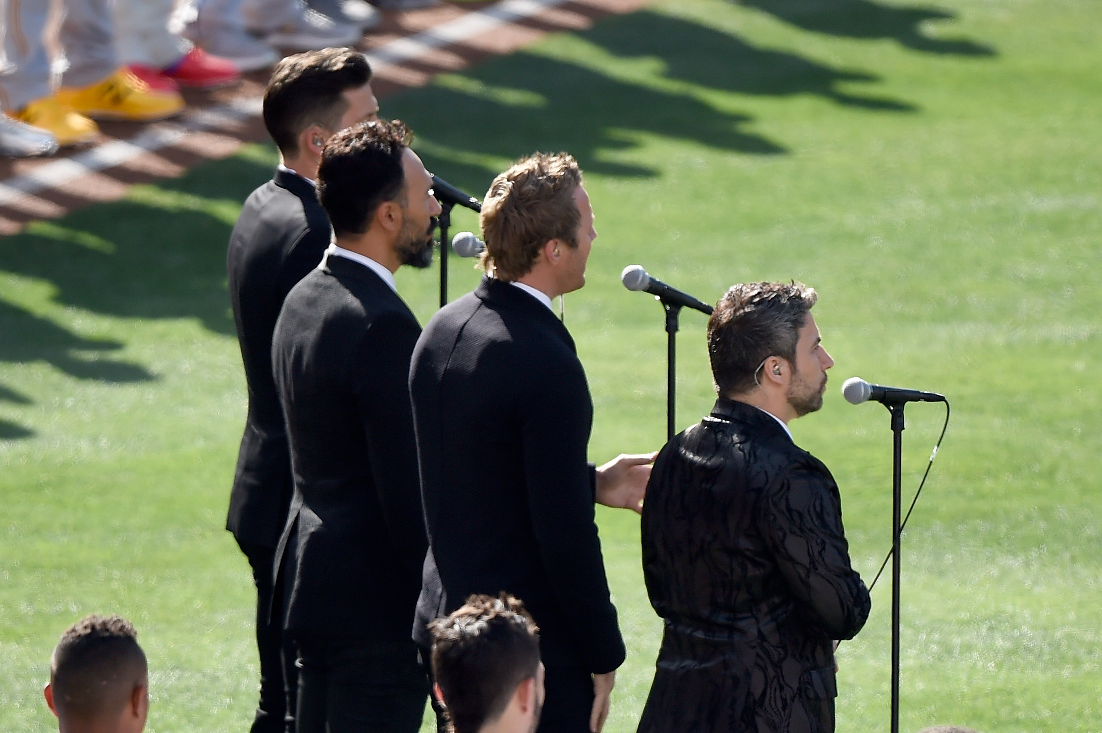 The Tenors, musicians based in British Columbia, perform  O Canada,  prior to the 87th Annual MLB All-Star Game at PETCO Park on July 12, 2016, in San Diego