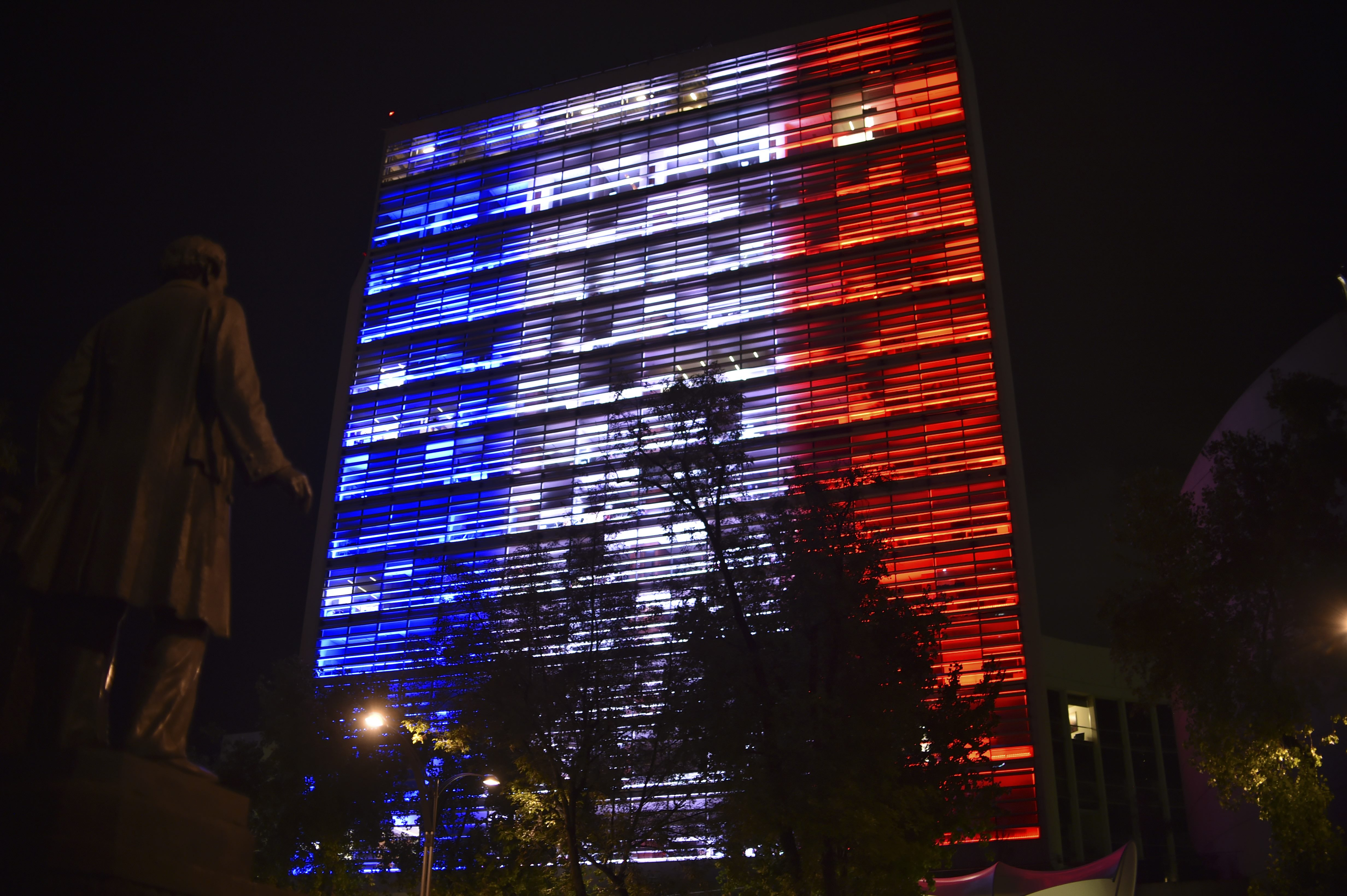 In solidarity following the deadly attack in Nice, France, the Mexican Senate building is illuminated with the colors of the French national flag in Mexico City on July 14, 2016