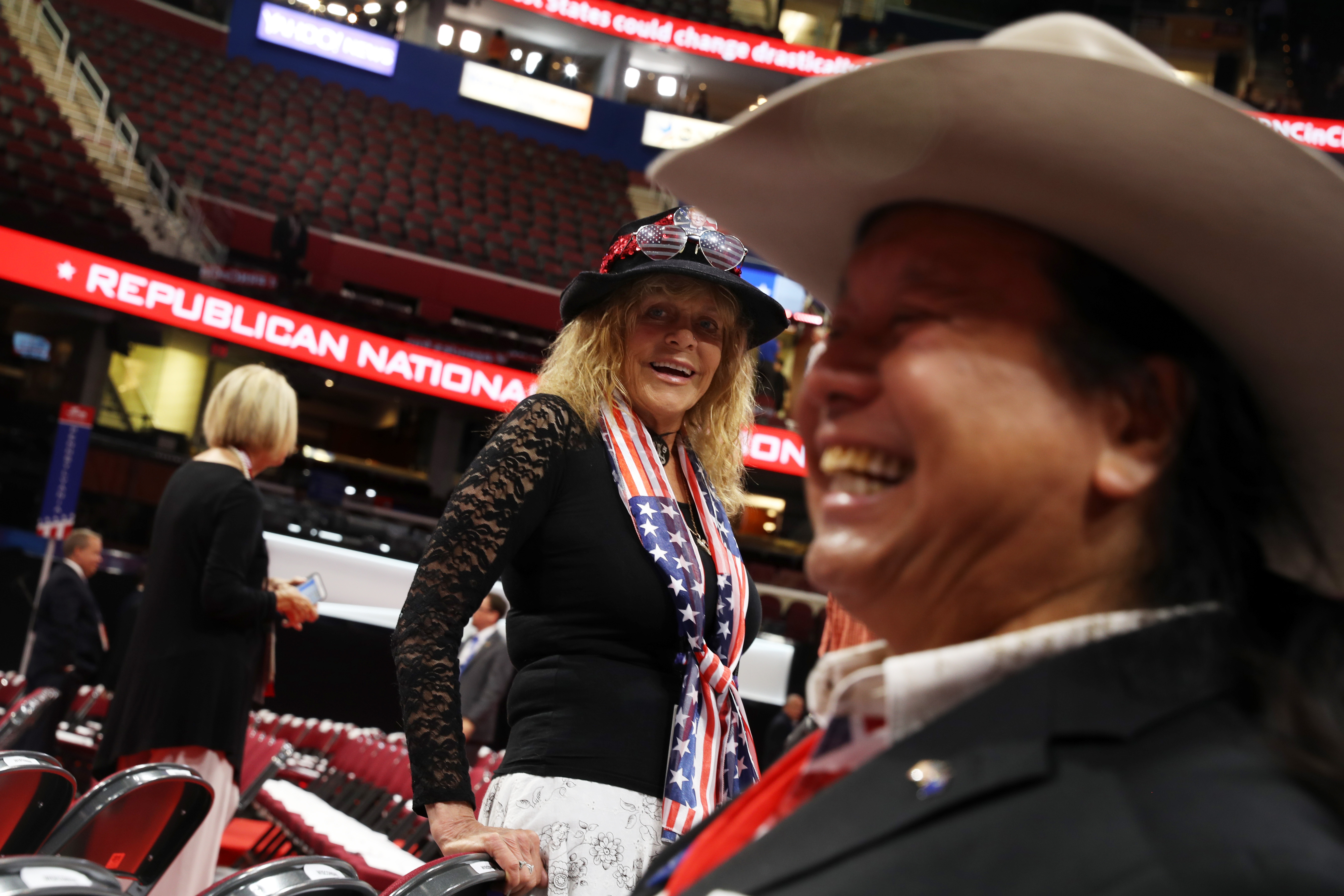 CLEVELAND, OH - JULY 18: Delegates arrive on the first day of the Republican National Convention on July 18, 2016 at the Quicken Loans Arena in Cleveland, Ohio. An estimated 50,000 people are expected in Cleveland, including hundreds of protesters and members of the media. The four-day Republican National Convention kicks off on July 18. (Photo by Joe Raedle/Getty Images)