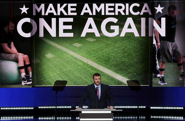 Video monitors behind speakers at the Republican convention also often showed related images, such as this football field behind inspirational speaker Brock Mealer.