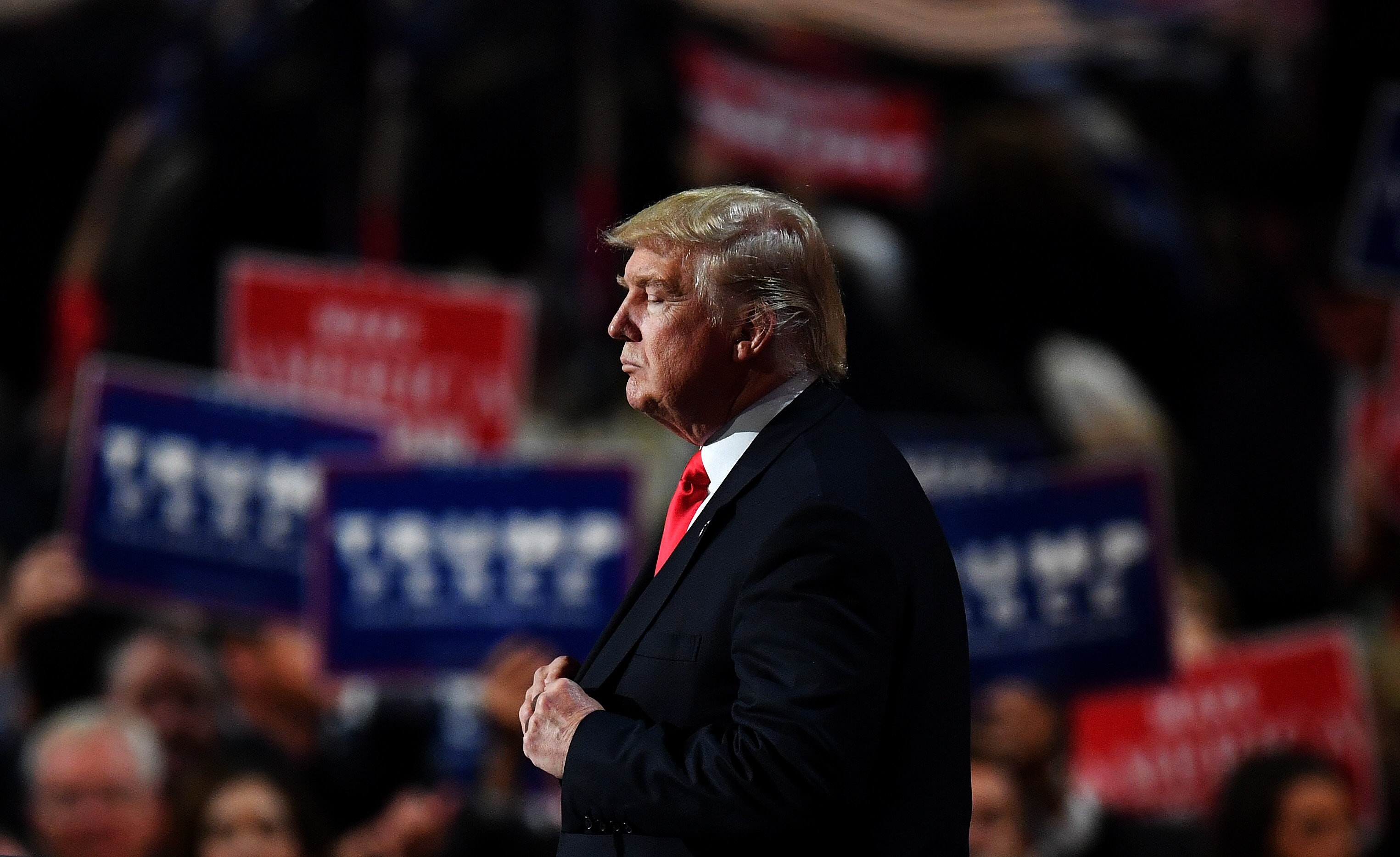 Republican presidential candidate Donald Trump pauses during his speech at the Republican National Convention on July 21, 2016.