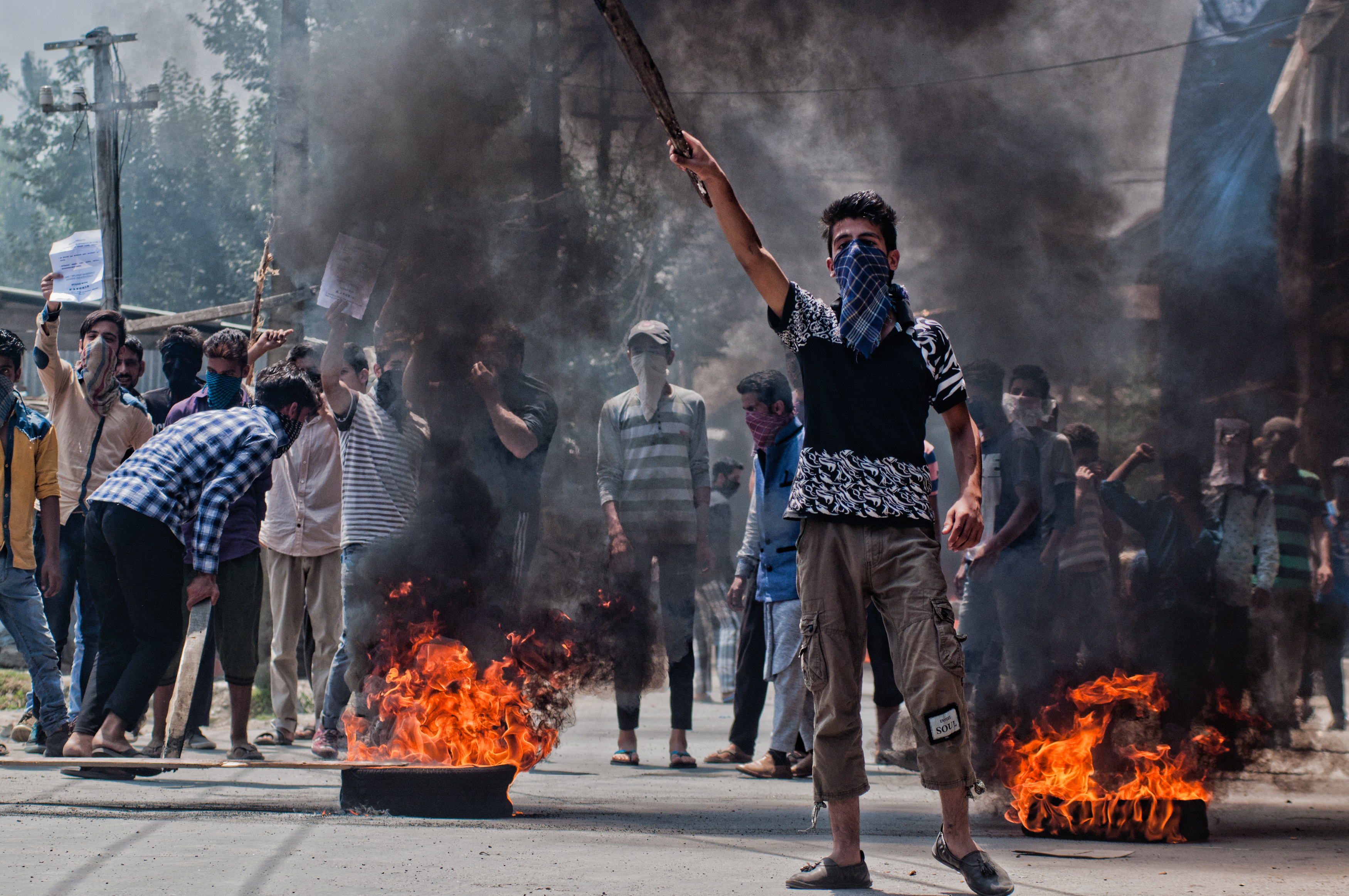 Kashmiri Muslim protesters shout anti Indian slogans  during a protest, following violence on July 23, 2016 in Srinagar, the summer capital of Indian administered Kashmir, India.