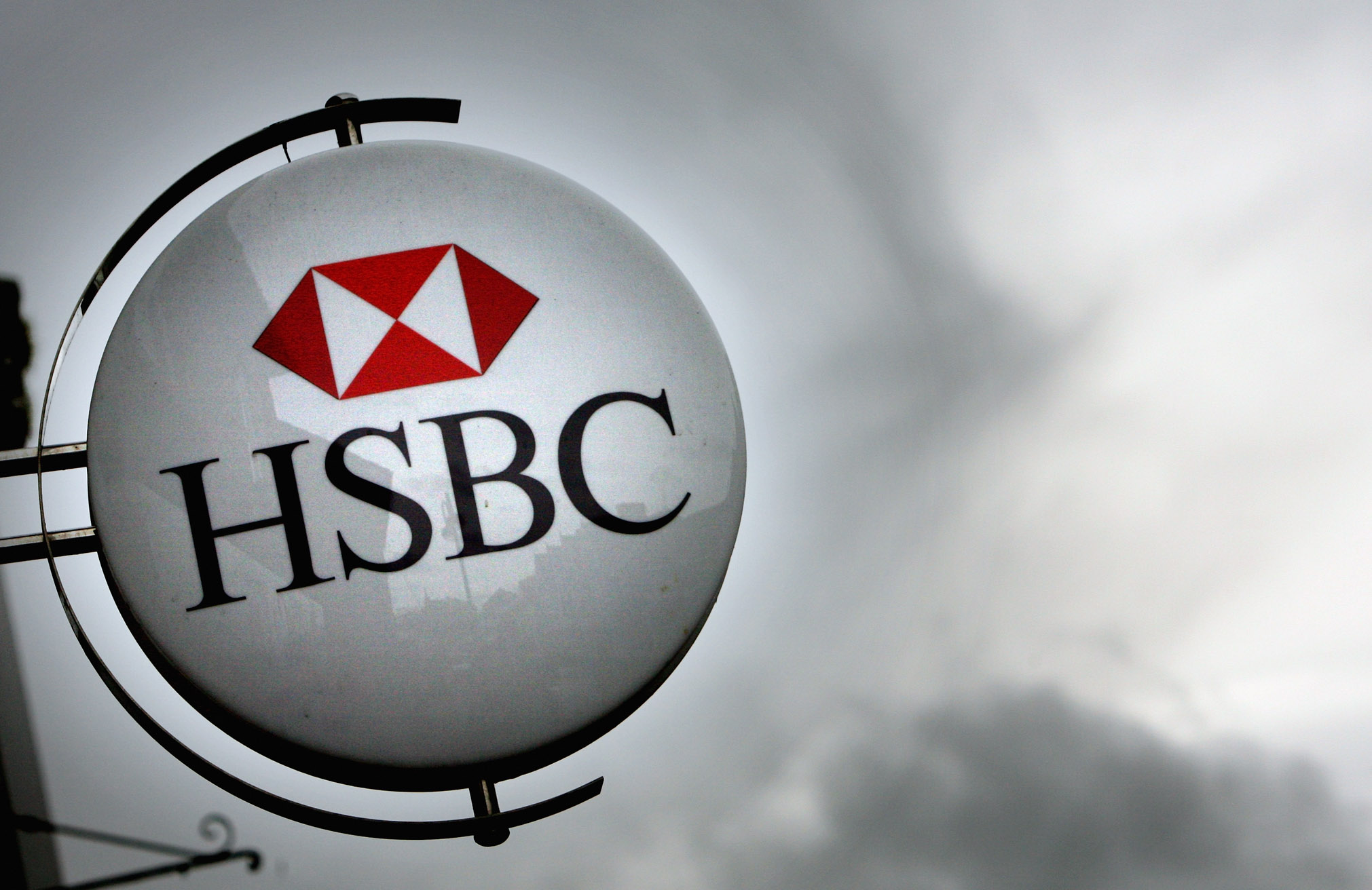The HSBC logo is displayed in Street, England, on March 3, 2008.