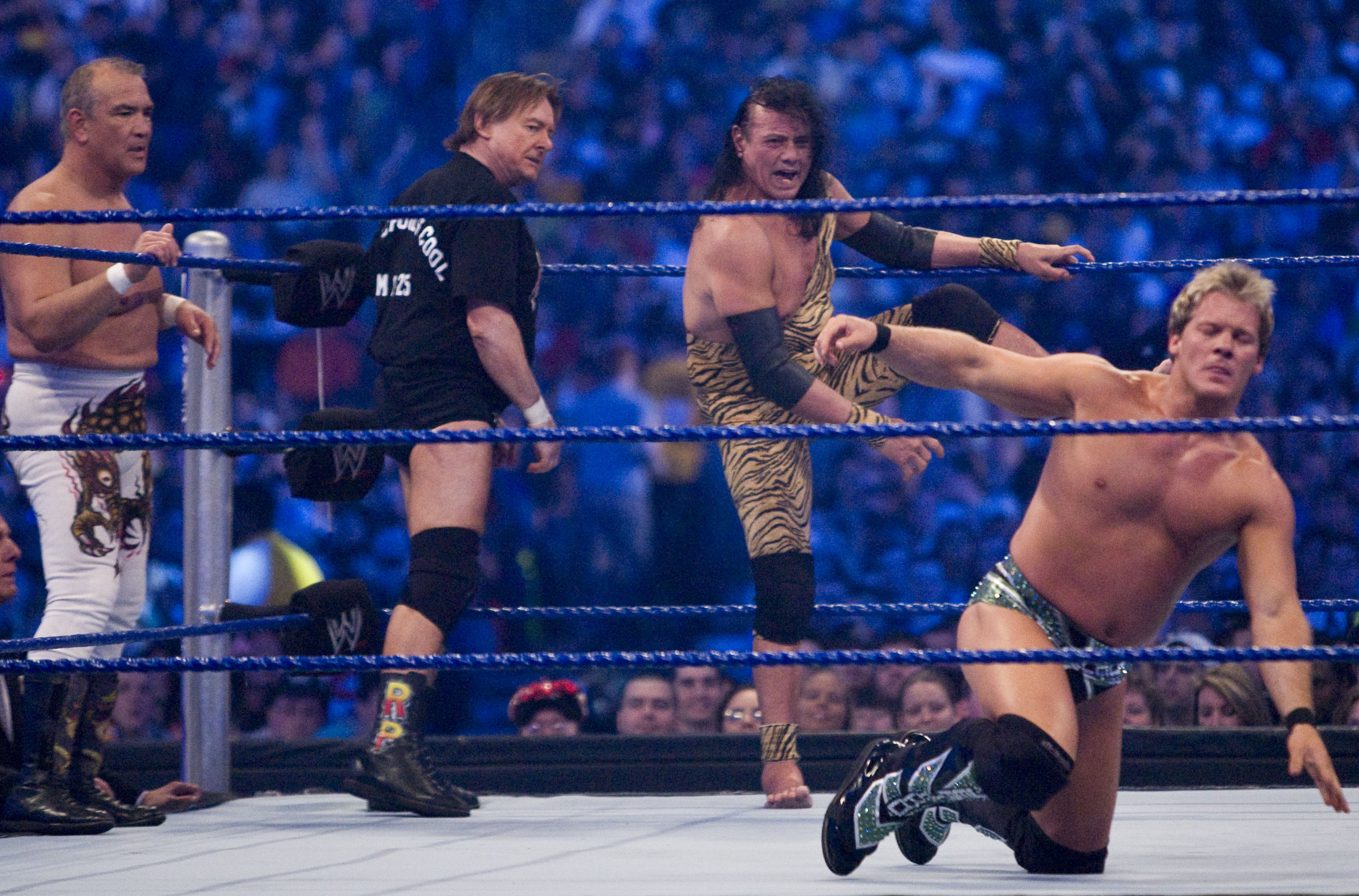 (L-R) Former professional wrestlers Ricky  The Dragon  Steamboat and  Rowdy Roddy Piper, Jimmy  Superfly  Snuka and WWE Superstar Chris Jericho during  WrestleMania 25 at on April 5, 2009 in Houston, Texas.