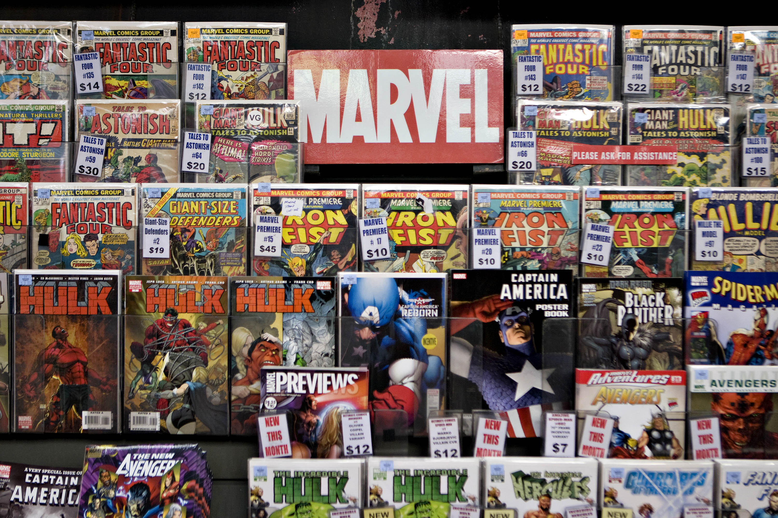 Marvel comics sit on display at Midtown Comics in New York, U.S., on Aug. 31, 2009.