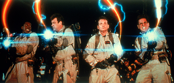 From left: Ernie Hudson, Dan Aykroyd, Bill Murray and Harold Ramis in Ghostbusters.