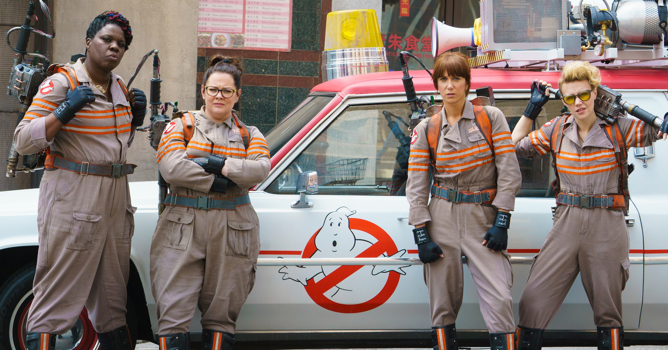 From left: Leslie Jones, Melissa McCarthy, Kristen Wiig and Kate McKinnon in Ghostbusters.