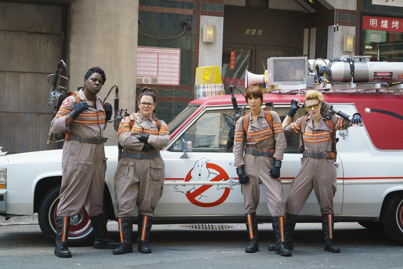 From left: Leslie Jones, Melissa McCarthy, Kristen Wiig and Kate McKinnon in Ghostbusters.