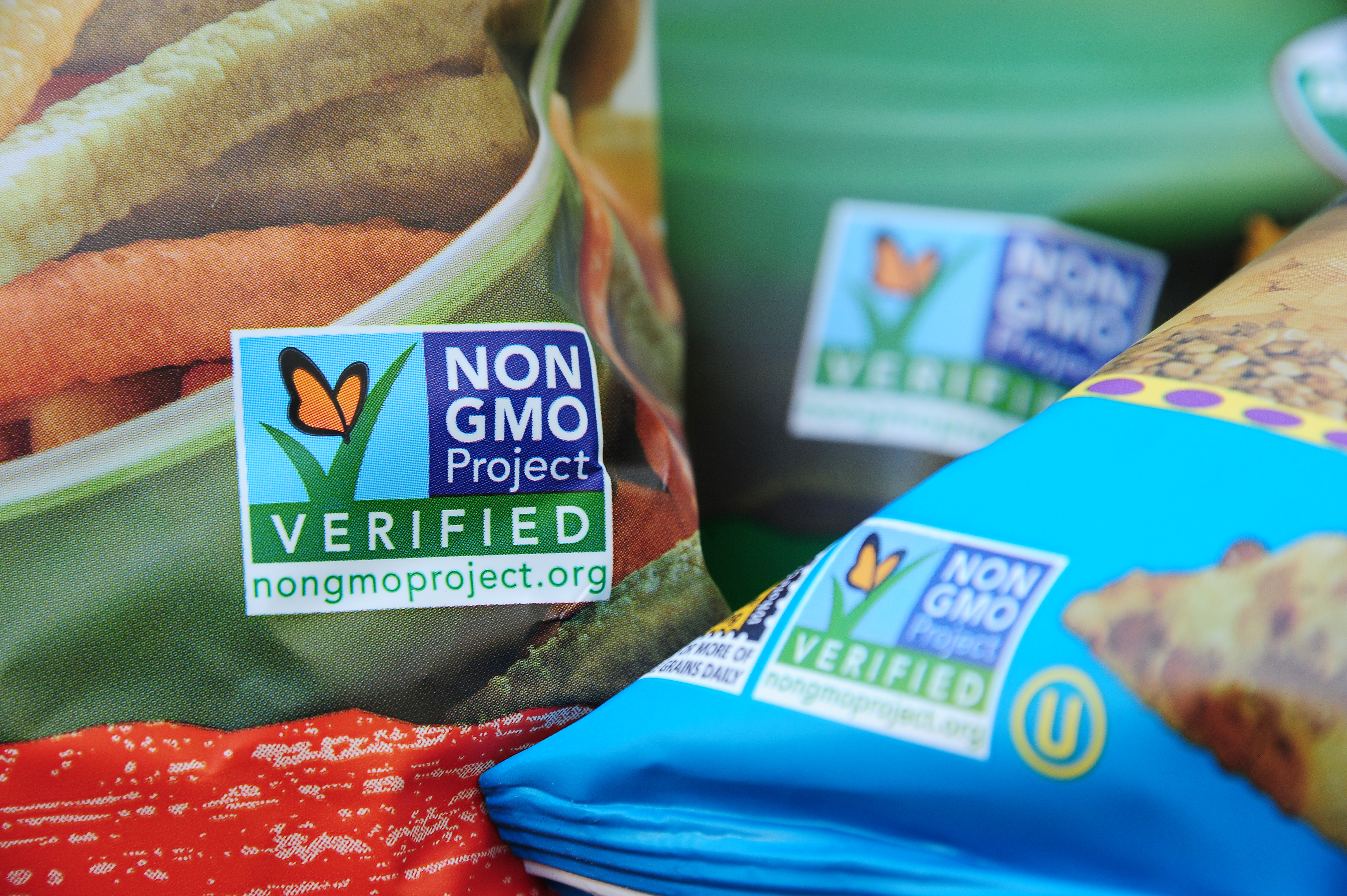 Labels on bags of snack foods indicate they are non-GMO food products, in Los Angeles, California,  Oct. 19, 2012.