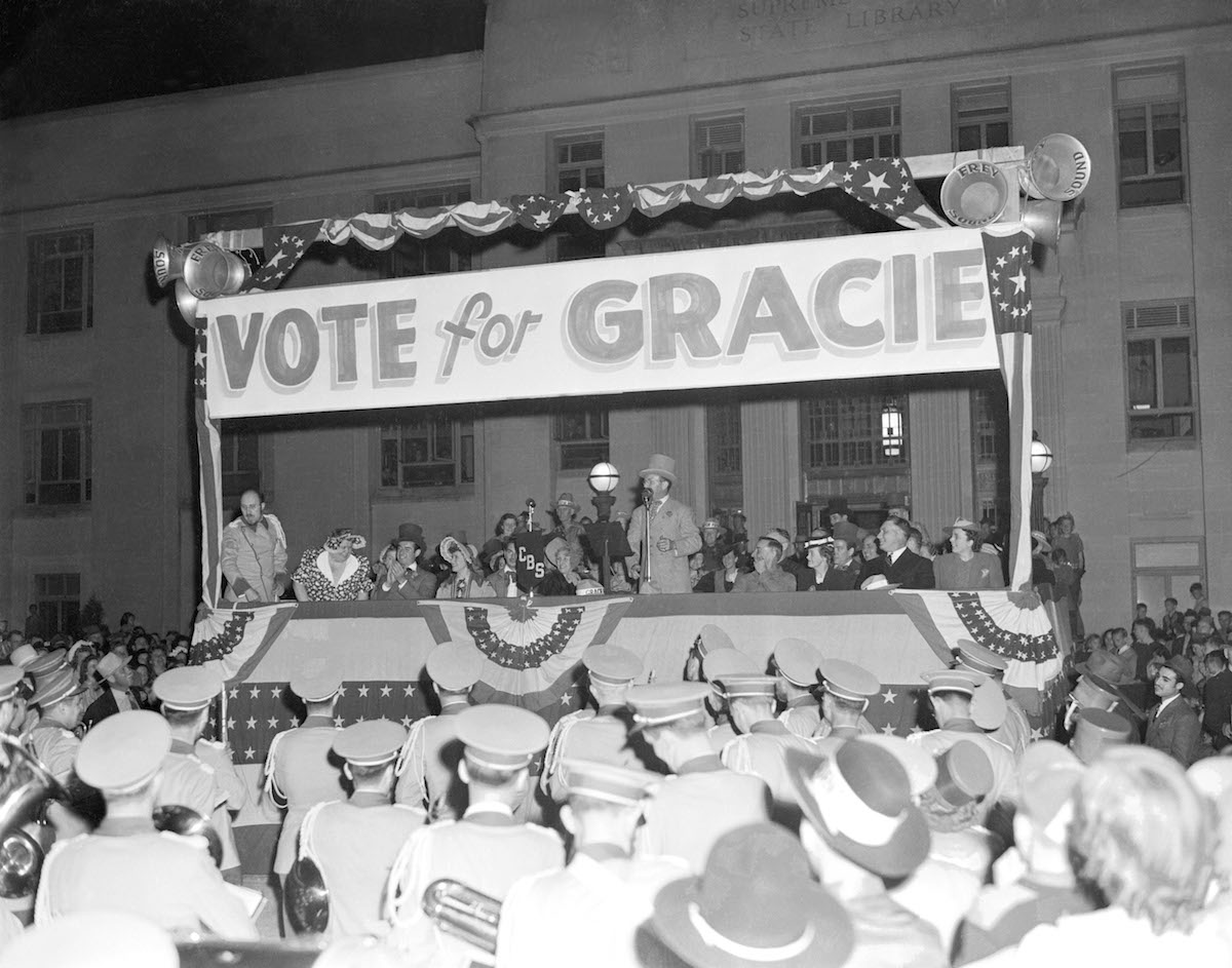 Campaigning under the Surprise Party platform, Gracie Allen, with husband George Burns, went on a whistle-stop tour of the western U.S. May 11, 1940, Cheyenne, Wyo.