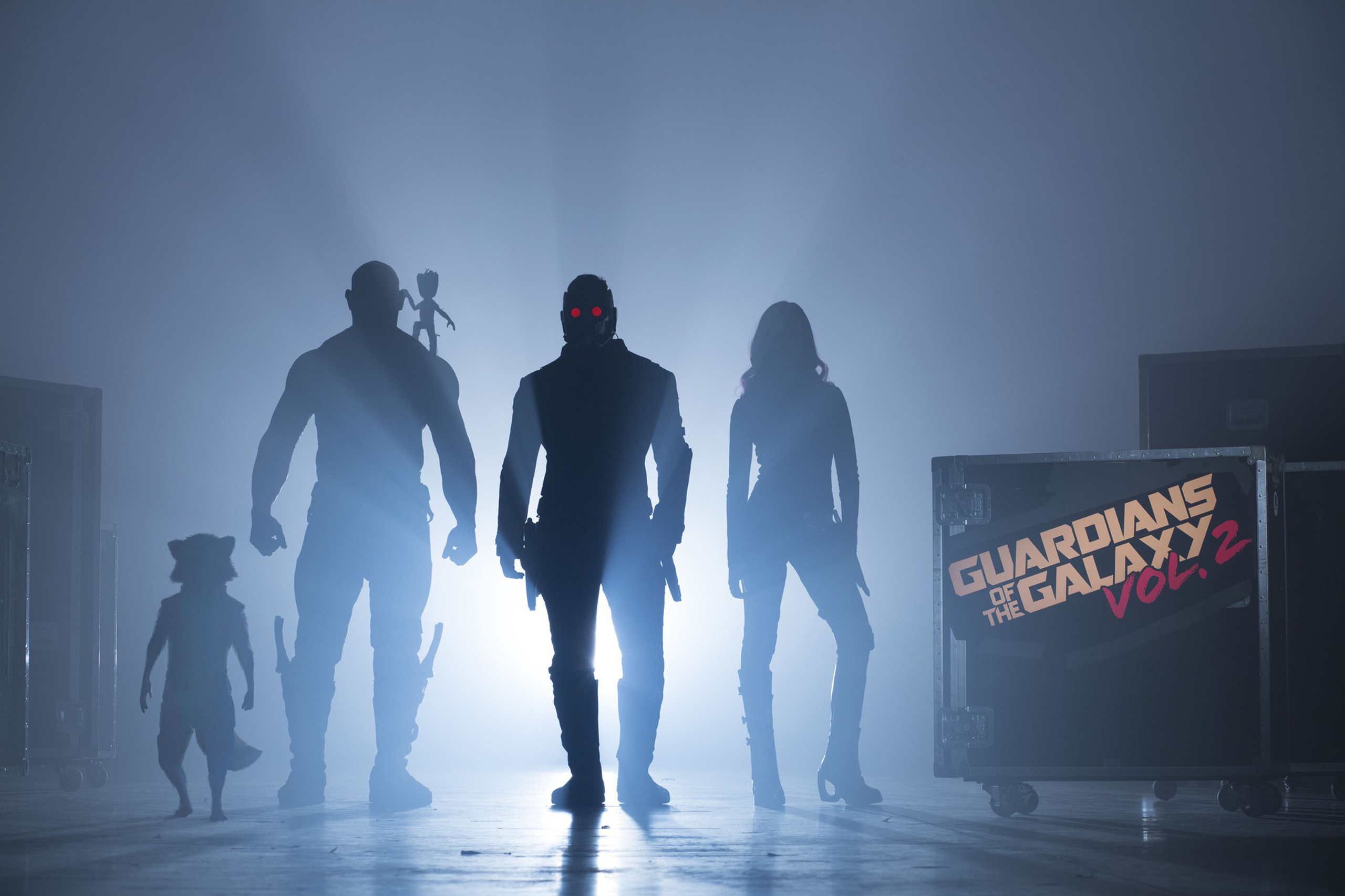 Guardians Of The Galaxy Vol. 2Start of Production ImageL to R: Rocket (voiced by Bradley Cooper), Drax (Dave Bautista), Groot (voiced by Vin Diesel), Peter Quill/Star-Lord (Chris Pratt) and Gamora (Zoe Saldana)©Marvel 2017