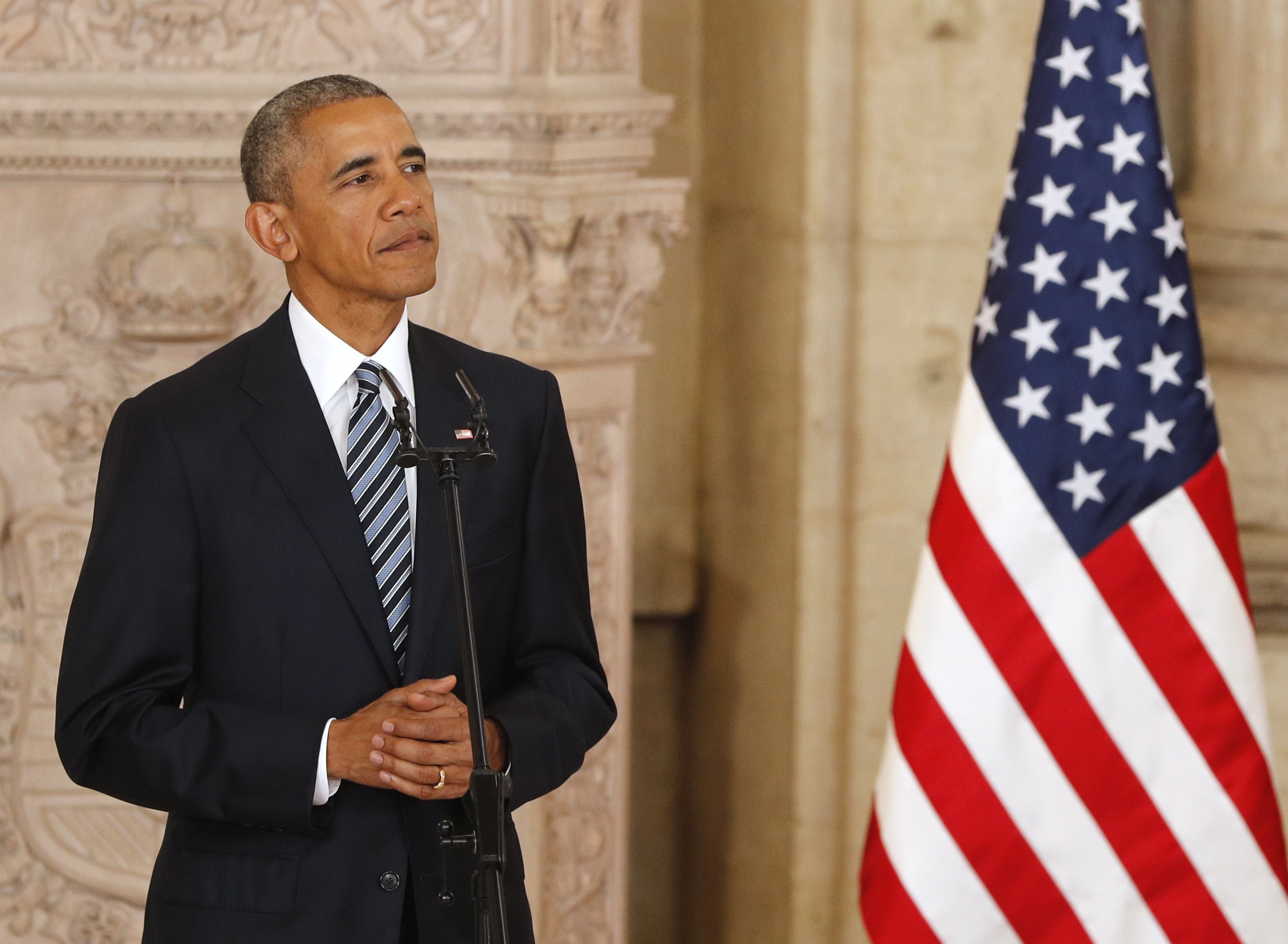 President Barack Obama delivers his speech at the Royal palace in Madrid, Spain, 10 July 2016.