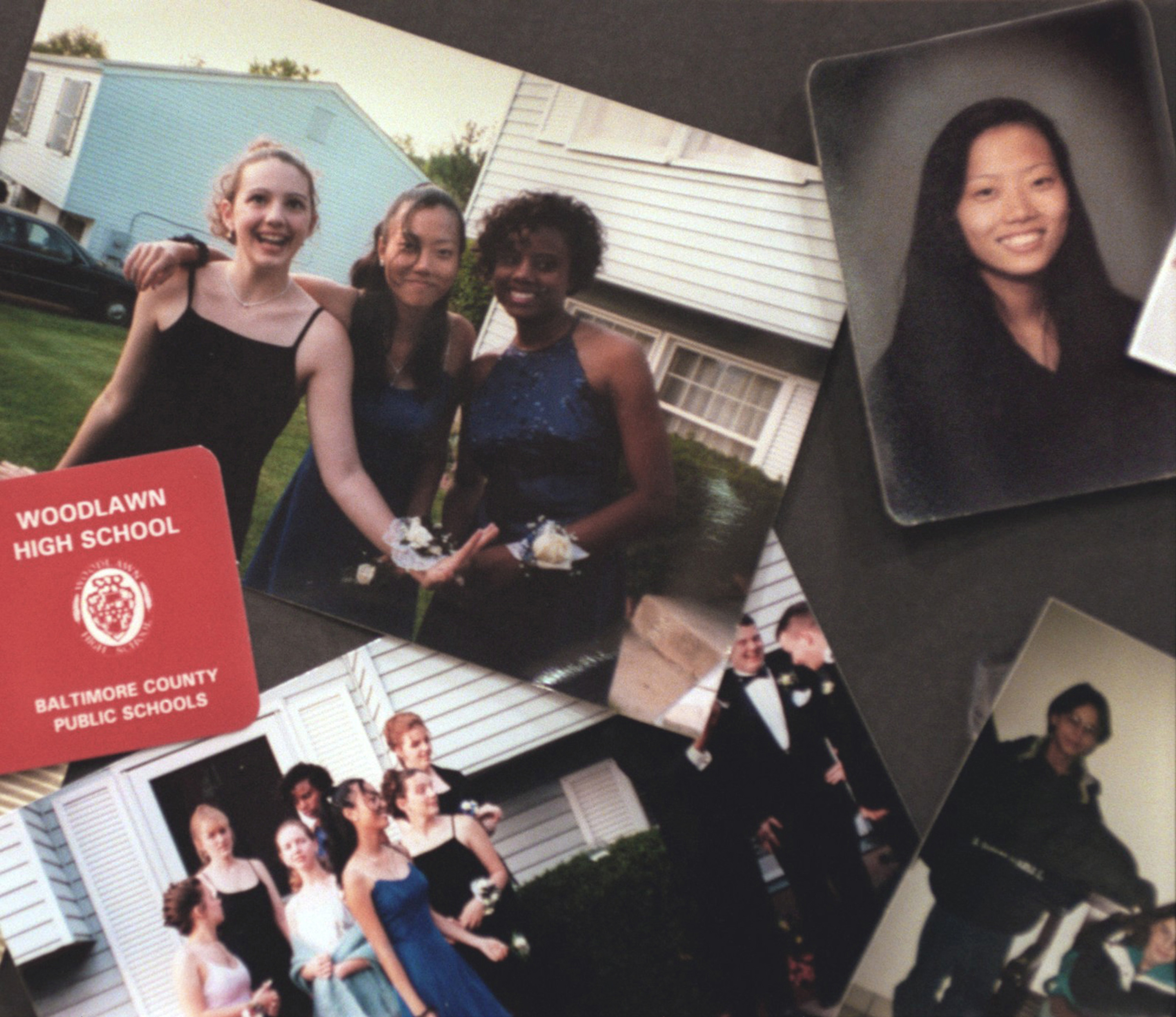 A collage of photographs of Hai Min Lee and her friends on display at Lee's memorial service in Baltimore, March 11, 1999.
