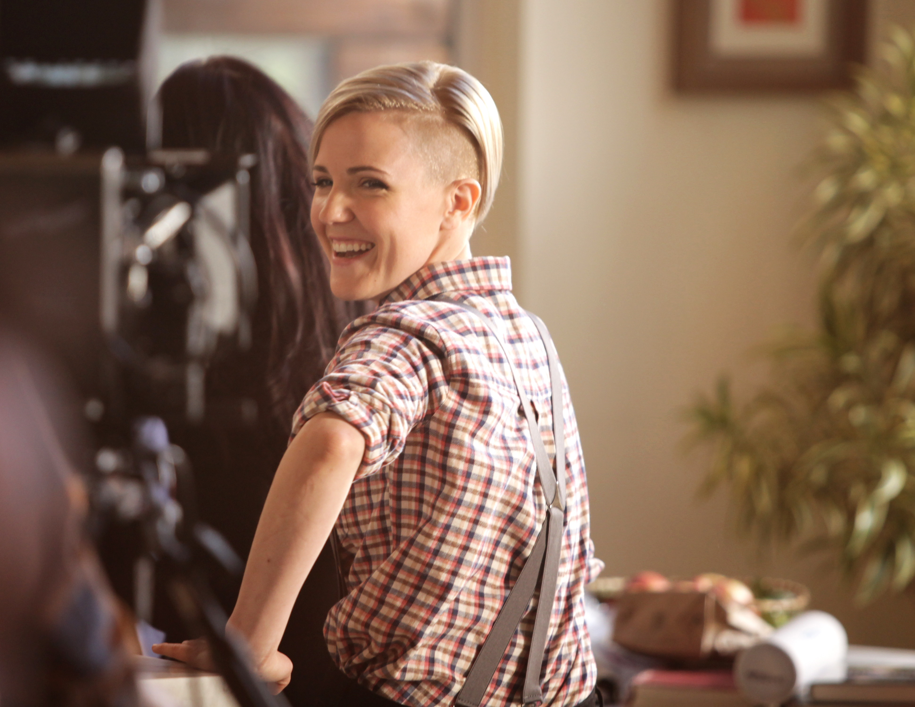 Hannah Hart on the set of  While the Water Boils,  her new co-branded series with Barilla.