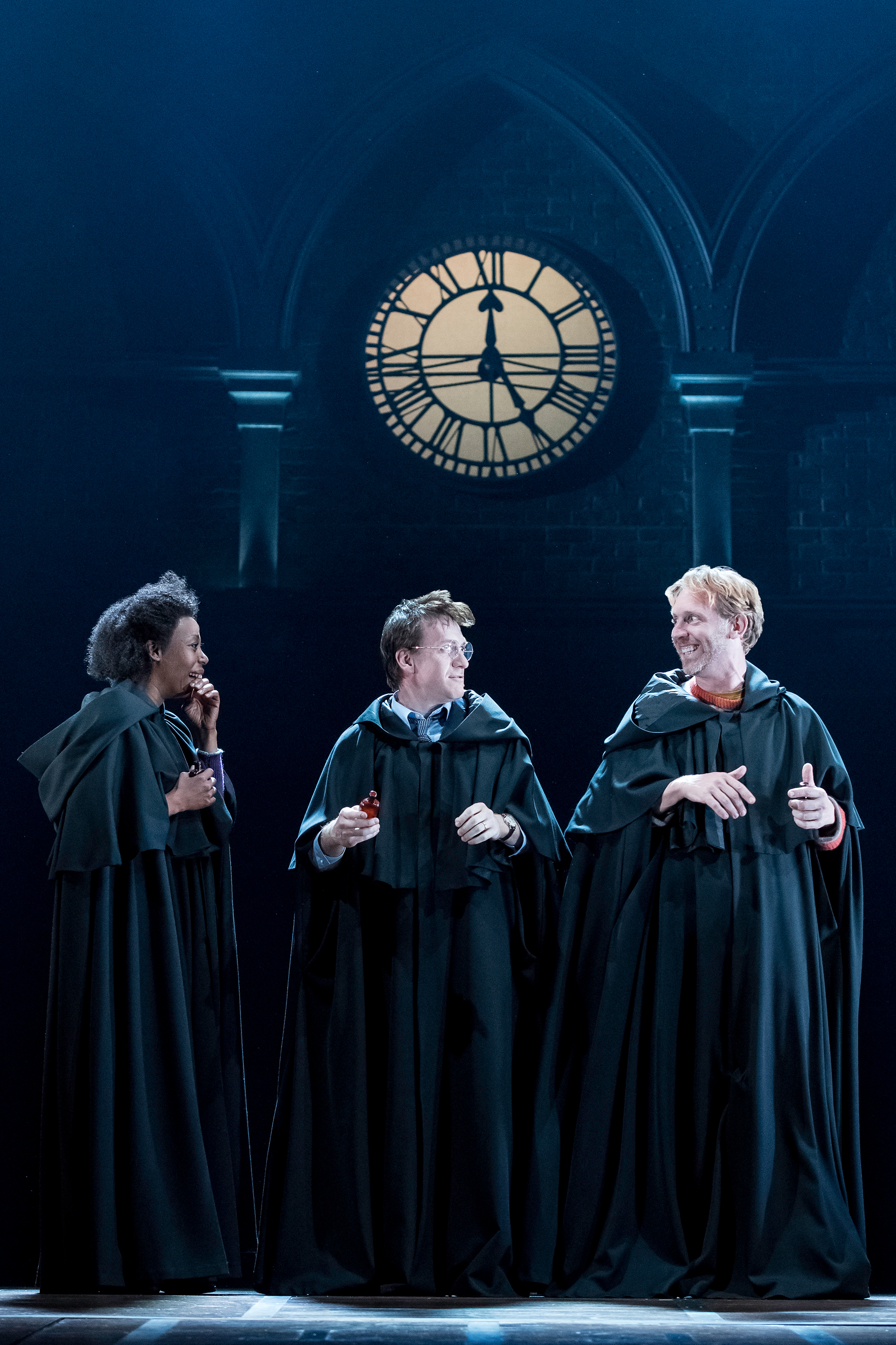 From left: Noma Dumezweni as Hermione Granger, Jamie Parker as Harry Potter and Paul Thornley as Ron Weasley in Harry Potter and the Cursed Child.