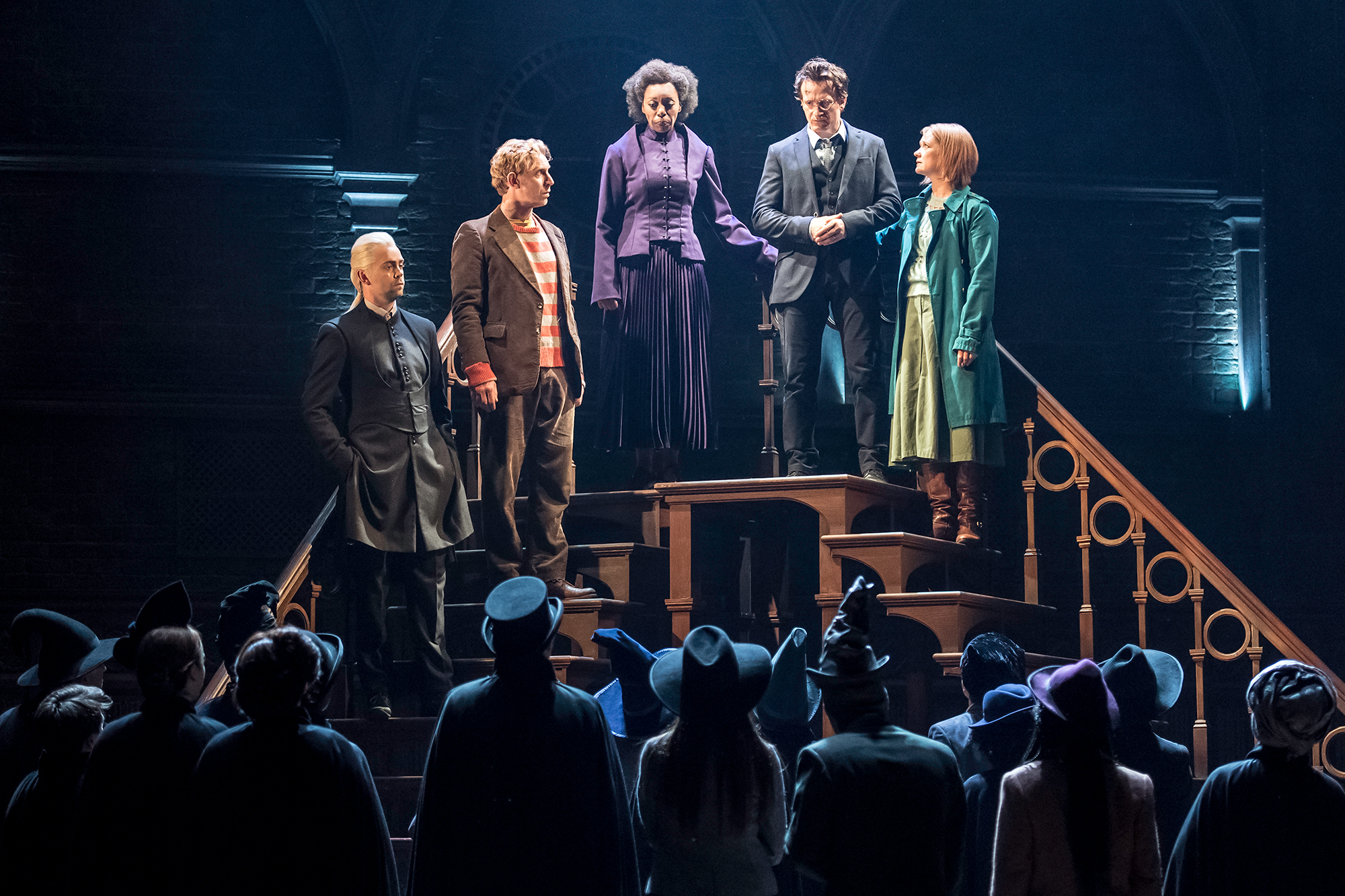 From left: Alex Price as Draco Malfoy, Paul Thornley as Ron Weasley, Noma Dumezweni as Hermione Granger, Jamie Parker as Harry Potter, and Poppy Miller as Ginny Potter in Harry Potter and the Cursed Child.