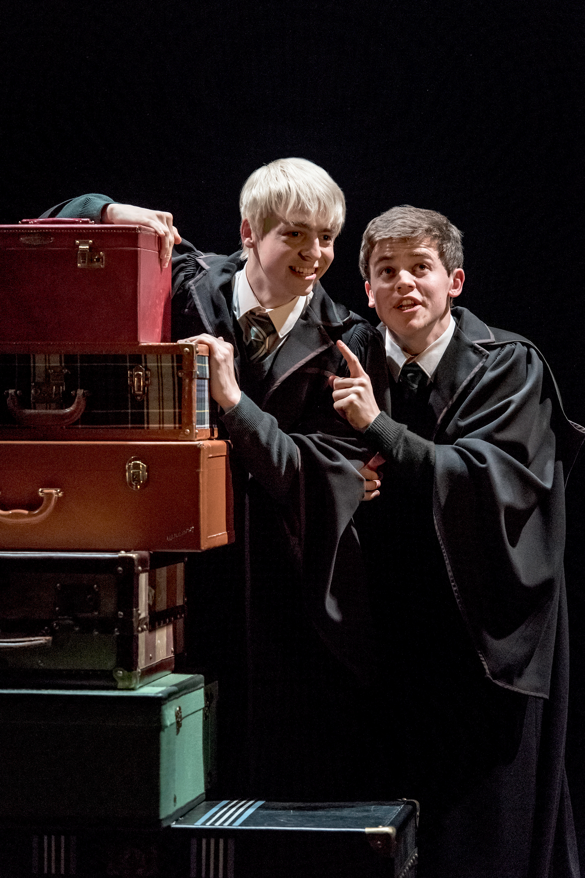From left: Anthony Boyle as Scorpius Malfoy and Sam Clemmett as Albus Potter in Harry Potter and the Cursed Child.