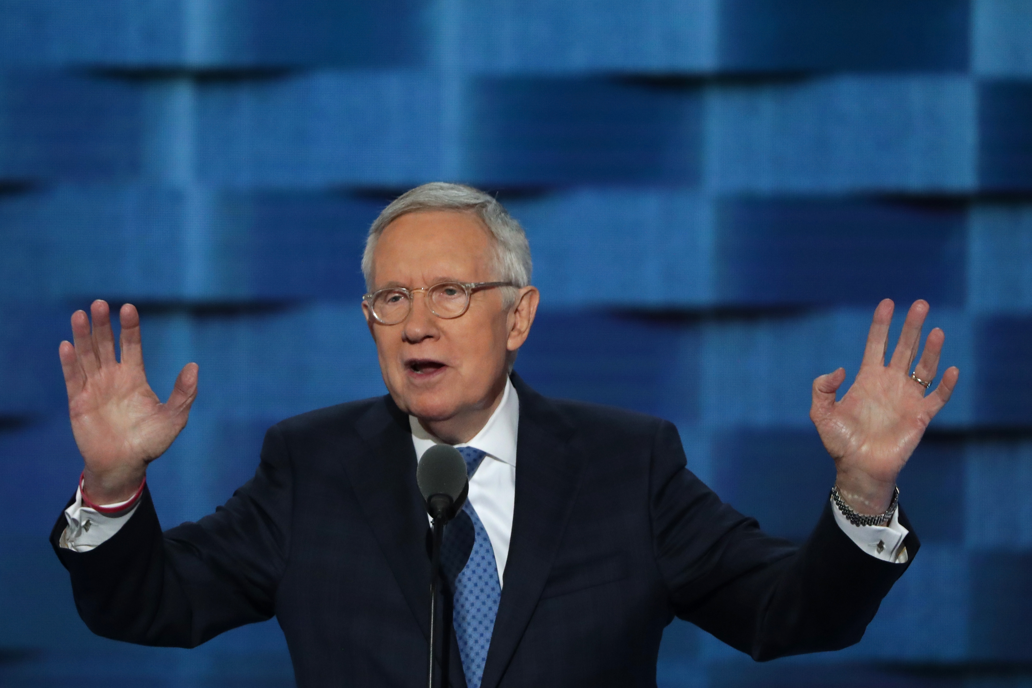 U.S. Sen. Minority Leader Sen. Harry Reid (D-NV) gestures to the crowd as he delivers remarks at the Democratic National Convention on July 27, 2016 in Philadelphia, Pennsylvania.