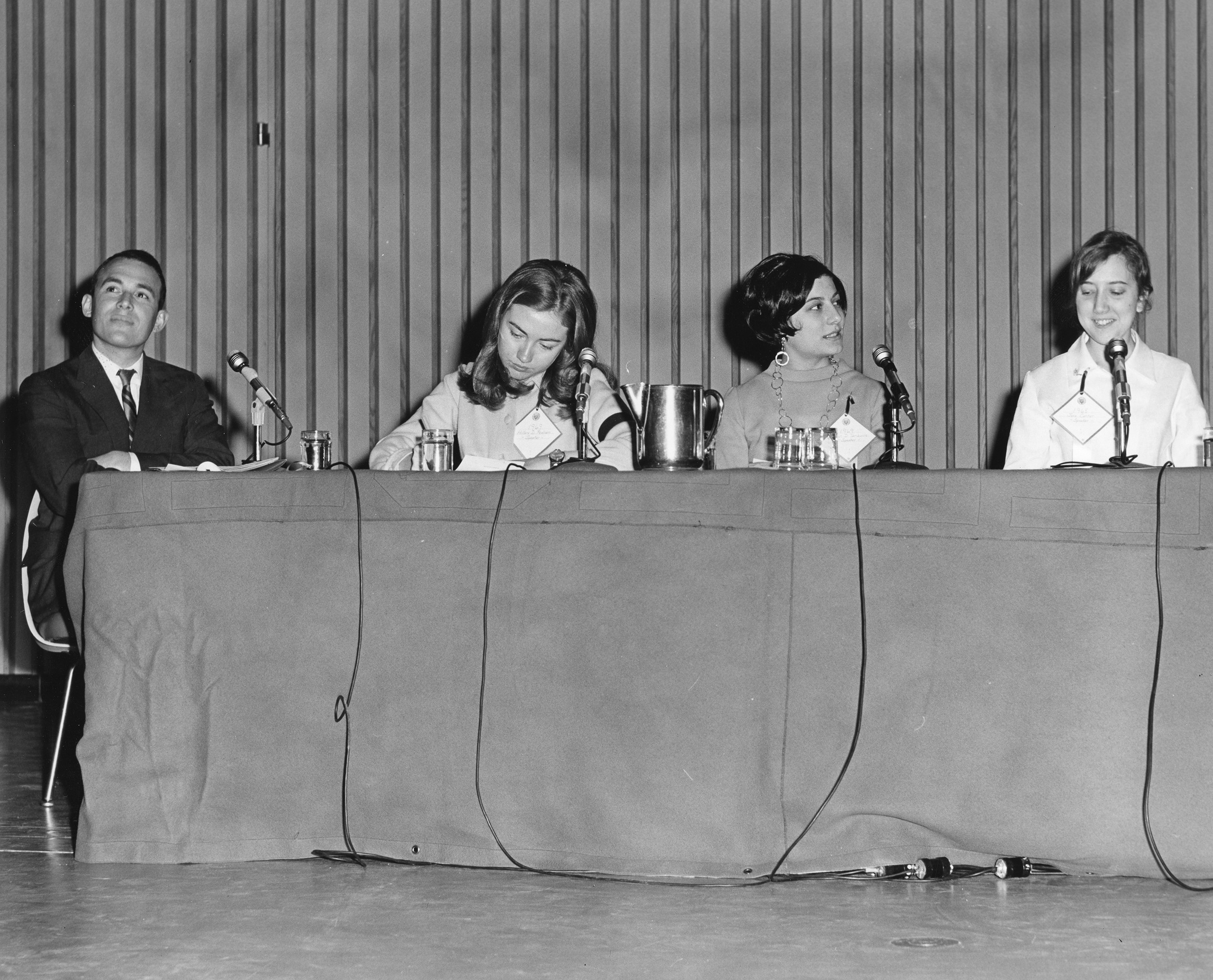 Hillary joins students and a faculty member at the Wellesley College Alumnae Council Student Panel, 1968.