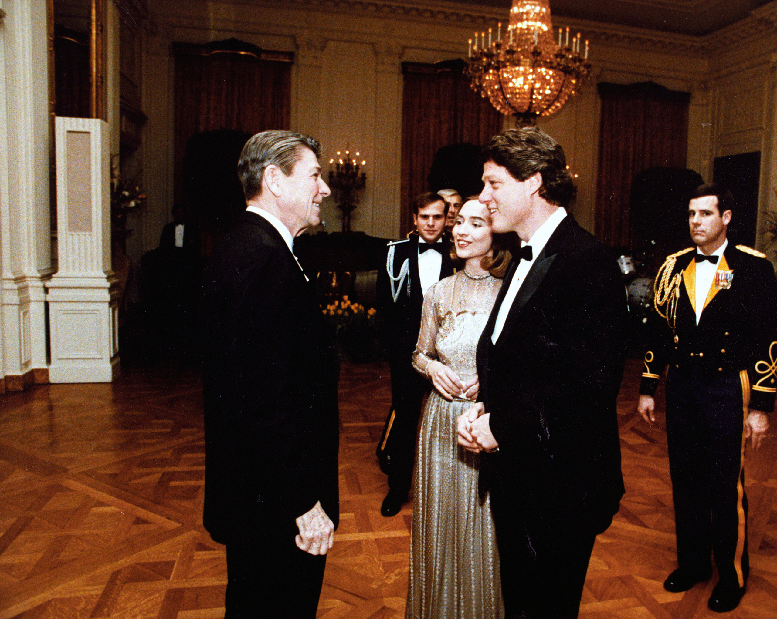Hillary and Bill meeting President Reagan, March 1983.