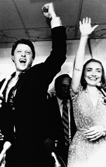 Former Arkansas Gov. Bill Clinton and his wife Hillary Clinton celebrate his victory in the Democratic runoff in Little Rock, Ark. on June 8, 1982.