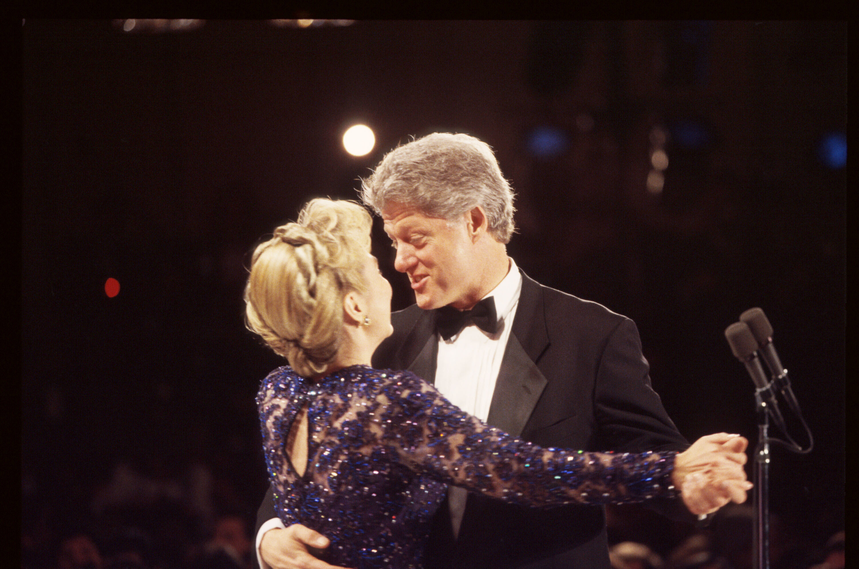 President Bill Clinton dances with First Lady Hillary Clinton on stage on Jan. 20, 1993 in Washington. Eleven inaugural balls were held on the same evening in honor of President Clinton's election.