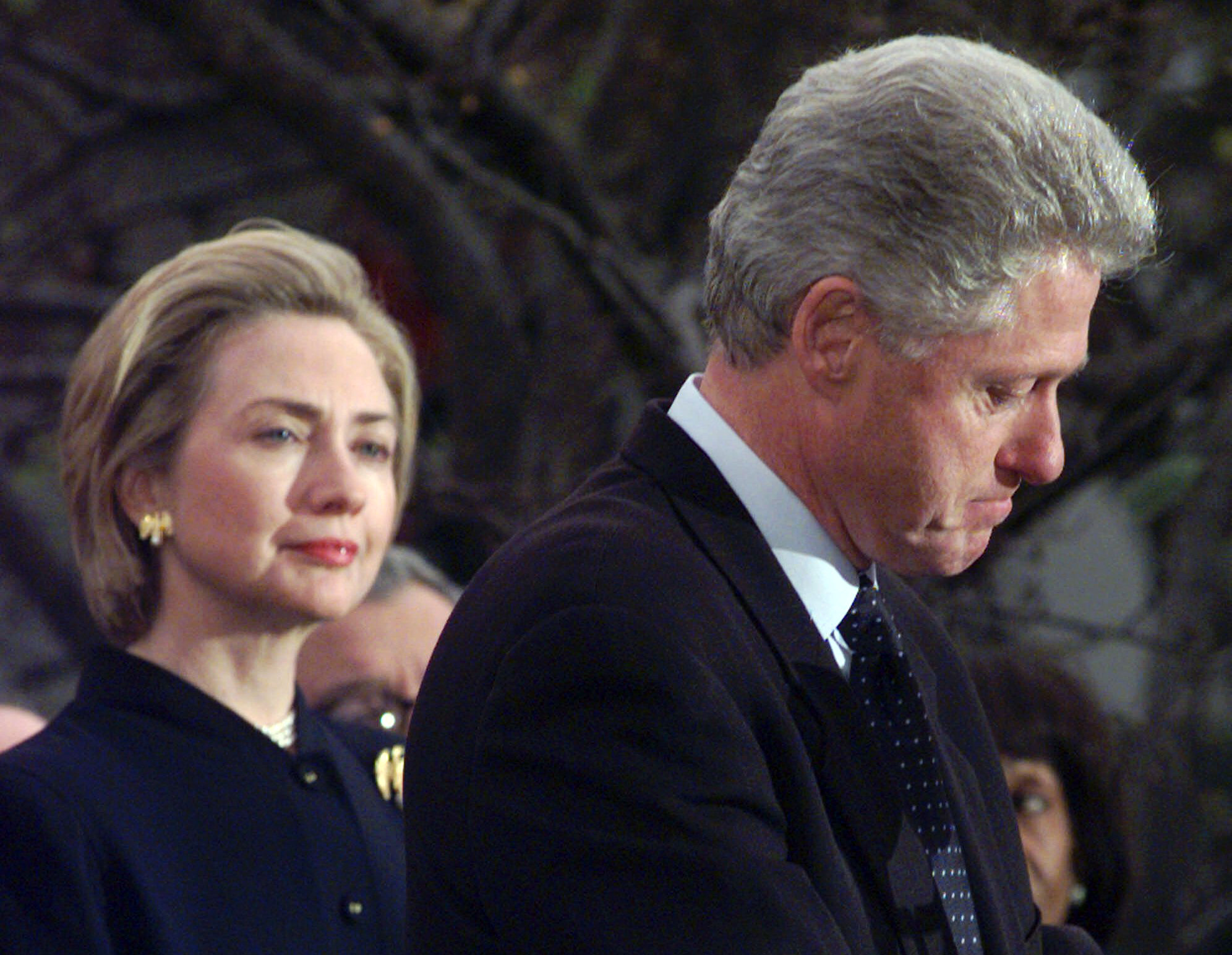 First Lady Hillary Rodham Clinton watches President Bill Clinton as he thanks Democratic members of the House of Representatives who voted against impeachment on Dec. 19, 1998, following the Lewinsky scandal.