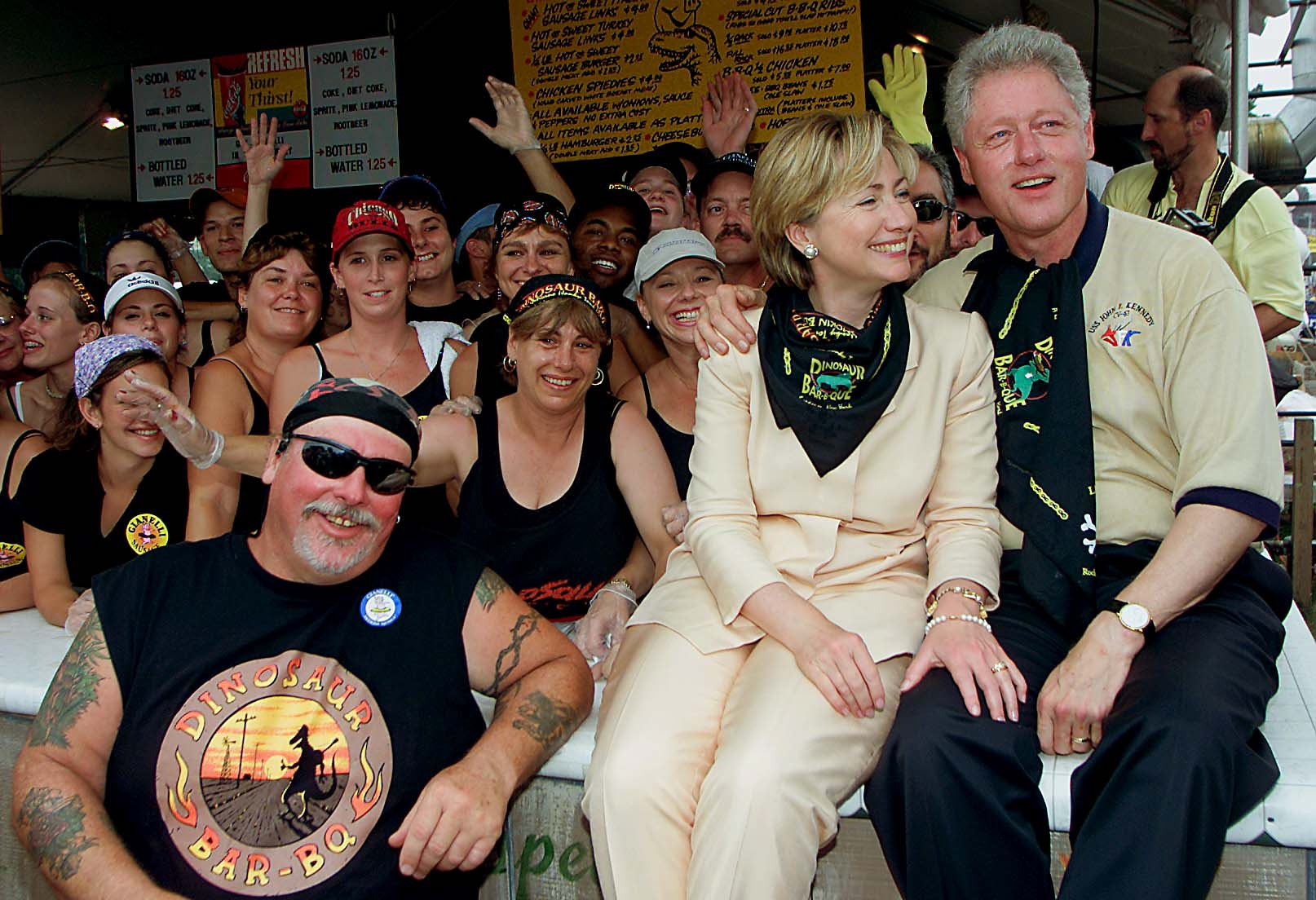 Senatorial candidate for New York and First Lady Hillary Rodham Clinton with husband President Bill Clinton pose for photos with the workers at Gianelli's Italian Sausages at the State Fair on Sept. 2, 2000 in Syracuse, N.Y.