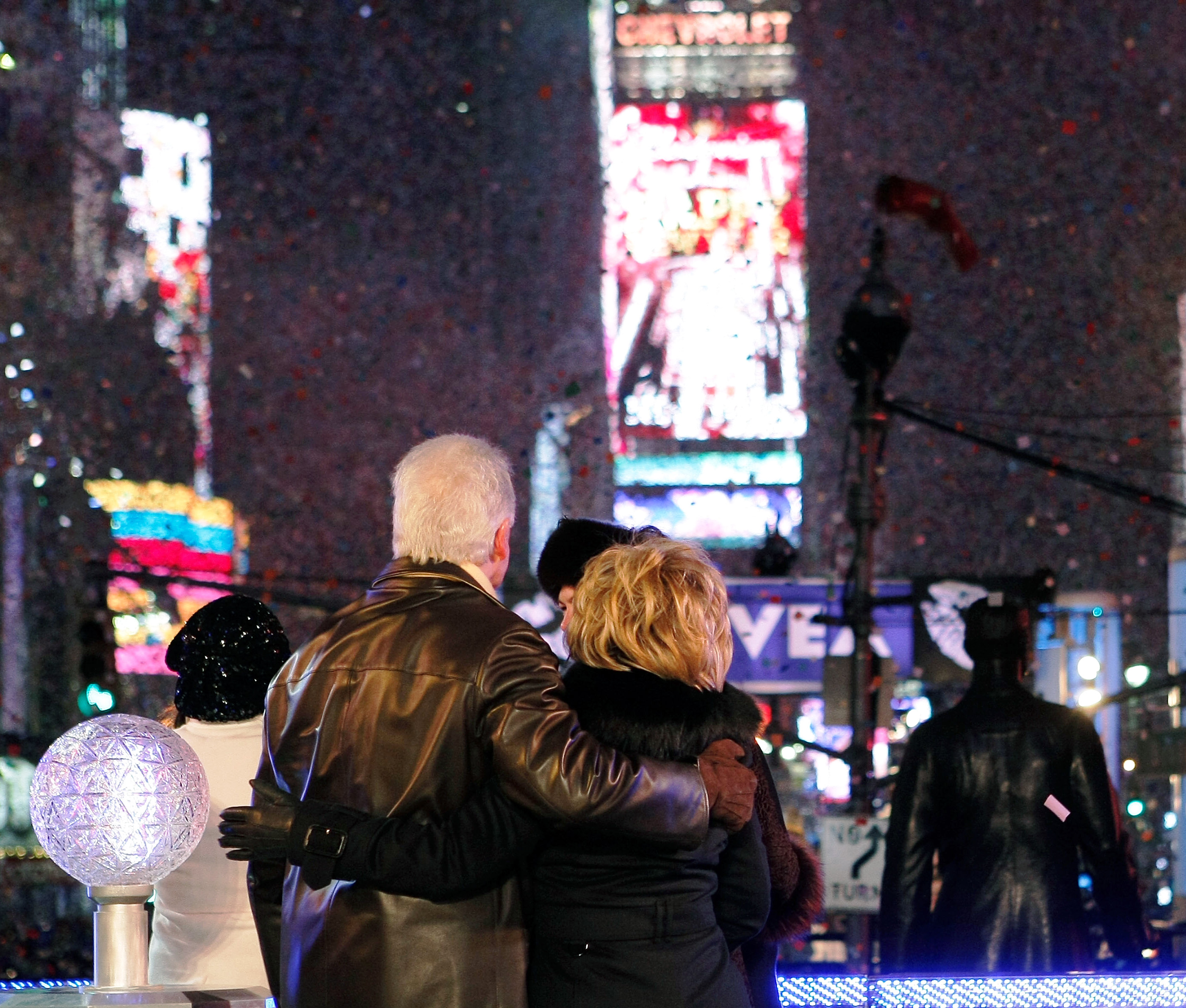 Former President Bill Clinton and then Secretary of State-elect Hillary Clinton celebrate the beginning of the year 2009 during the ceremony to lower the Times Square New Year's Eve ball in Times Square on Jan. 1, 2009 in New York.