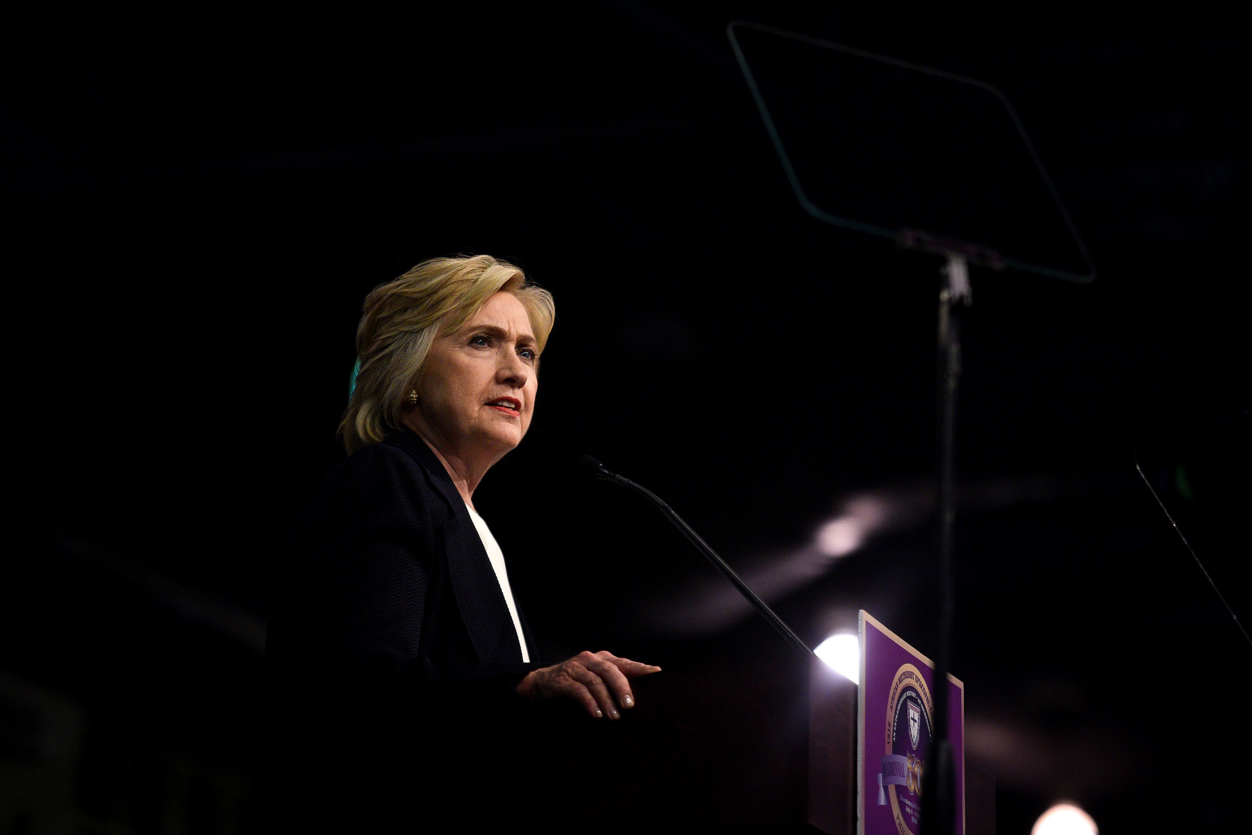 Democratic Presidential candidate Hillary Clinton speaks to the General Conference of the African Methodist Episcopal Church during their annual convention at the Pennsylvania Convention Center in Philadelphia on July 8, 2016.