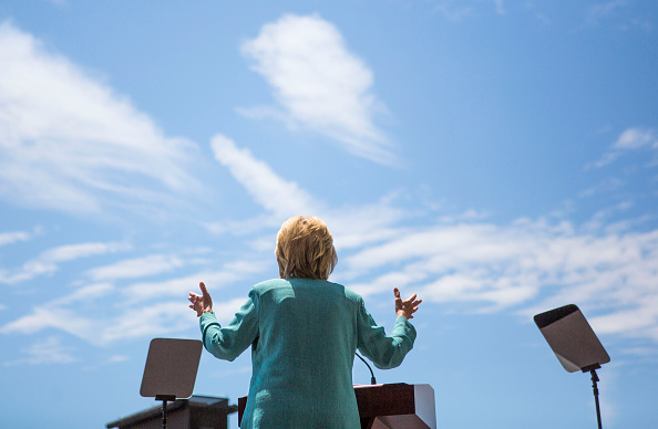 Presumptive Democratic presidential nominee Hillary Clinton speaks at a rally on the boardwalk on July 6, 2016 in Atlantic City, New Jersey.