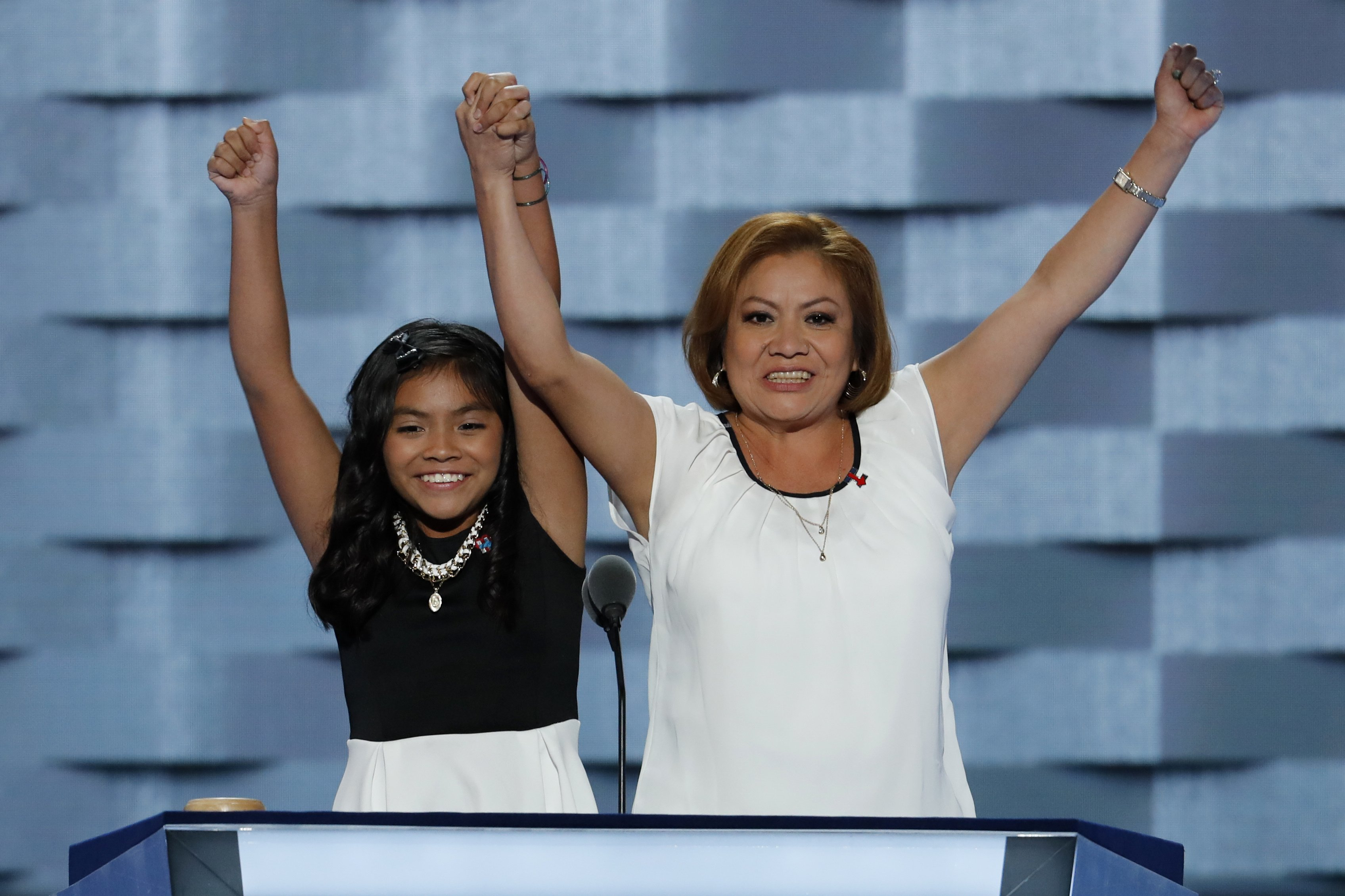 11-year-old Karla Ortiz, left, and her mother Francisca Ortiz speak during the first day of the Democratic National Convention in Philadelphia on Monday, July 25, 2016.