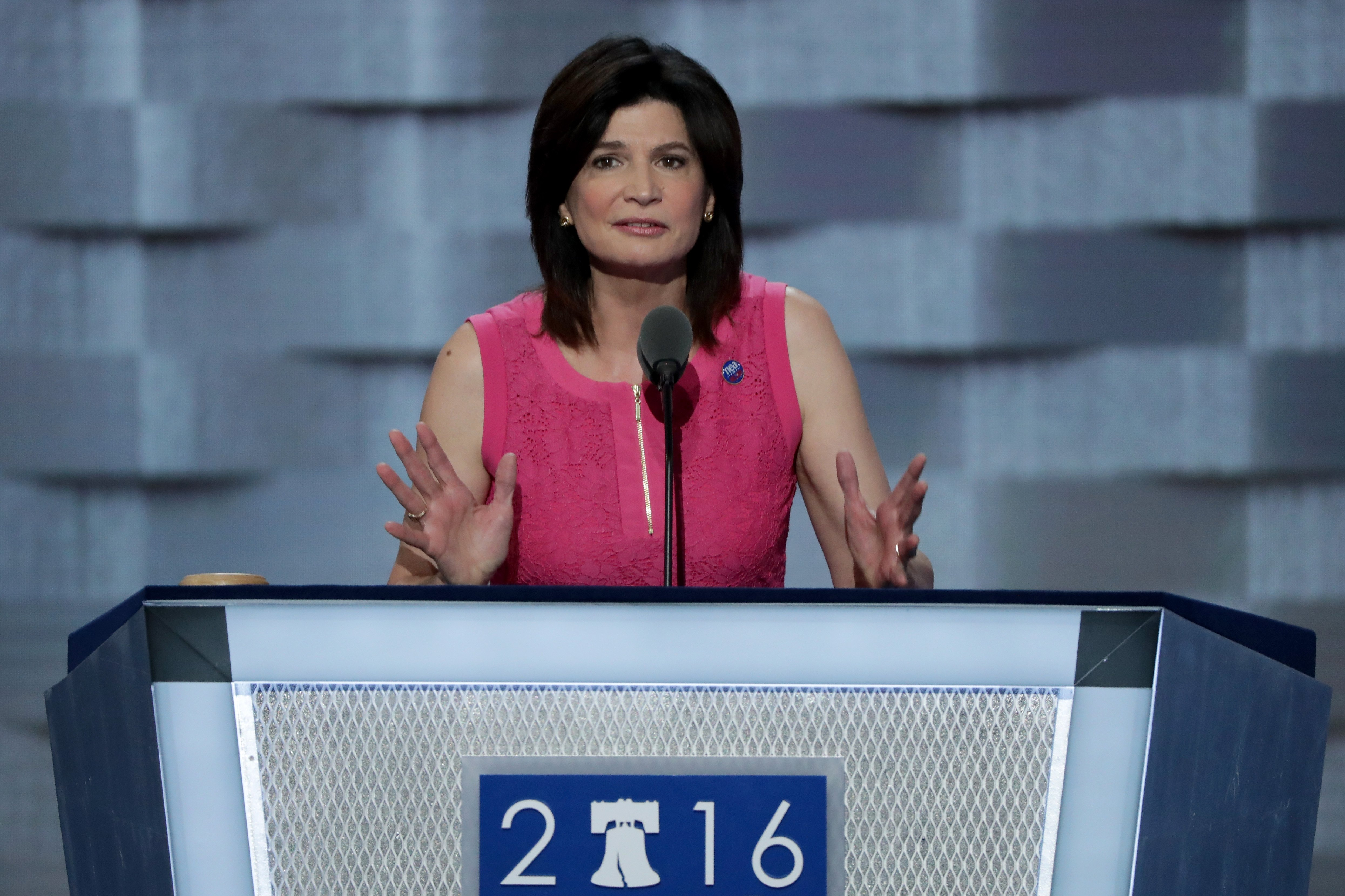 Lily Eskelsen Garcia, president of the National Education Association, delivers remarks on the first day of the Democratic National Convention at the Wells Fargo Center on July 25, 2016 in Philadelphia.