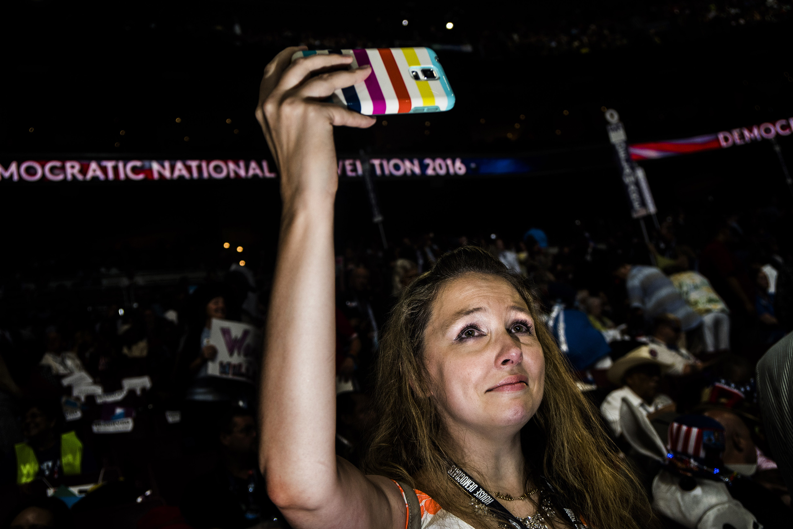 An emotional moment on  the second day of the Democratic National Convention at the Wells Fargo Center, July 26, 2016 in Philadelphia, Pennsylvania.