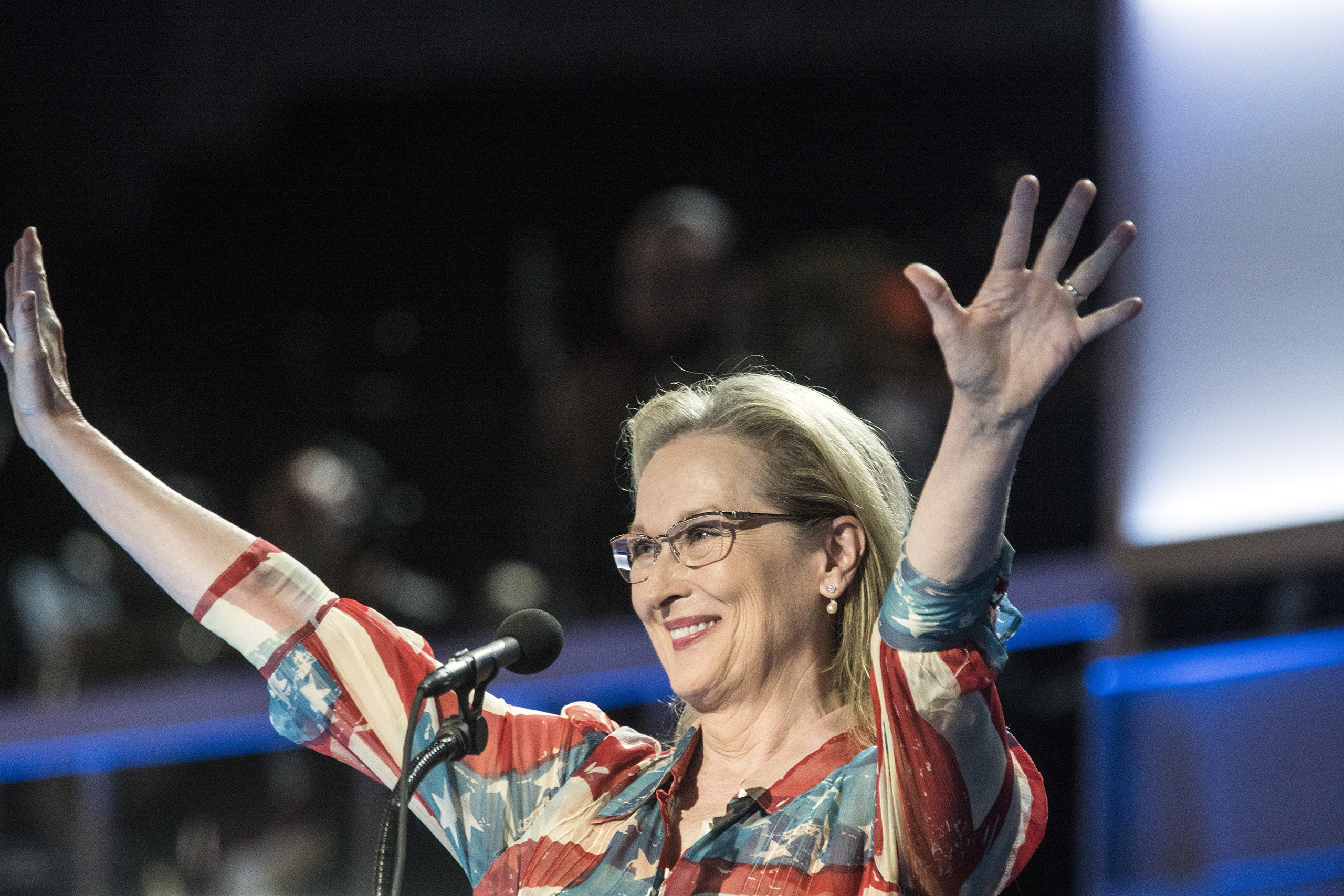 Actress Meryl Streep  delivers remarks on the second day of the Democratic National Convention at the Wells Fargo Center in Philadelphia on July 26, 2016.
