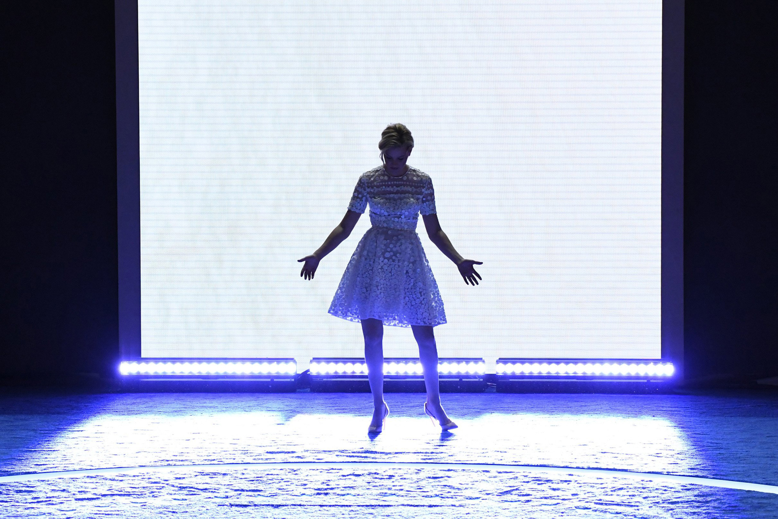 Actress Elizabeth Banks stand on stage during the 2016 Democratic National Convention at Wells Fargo Arena in Philadelphia on July 26, 2016.
