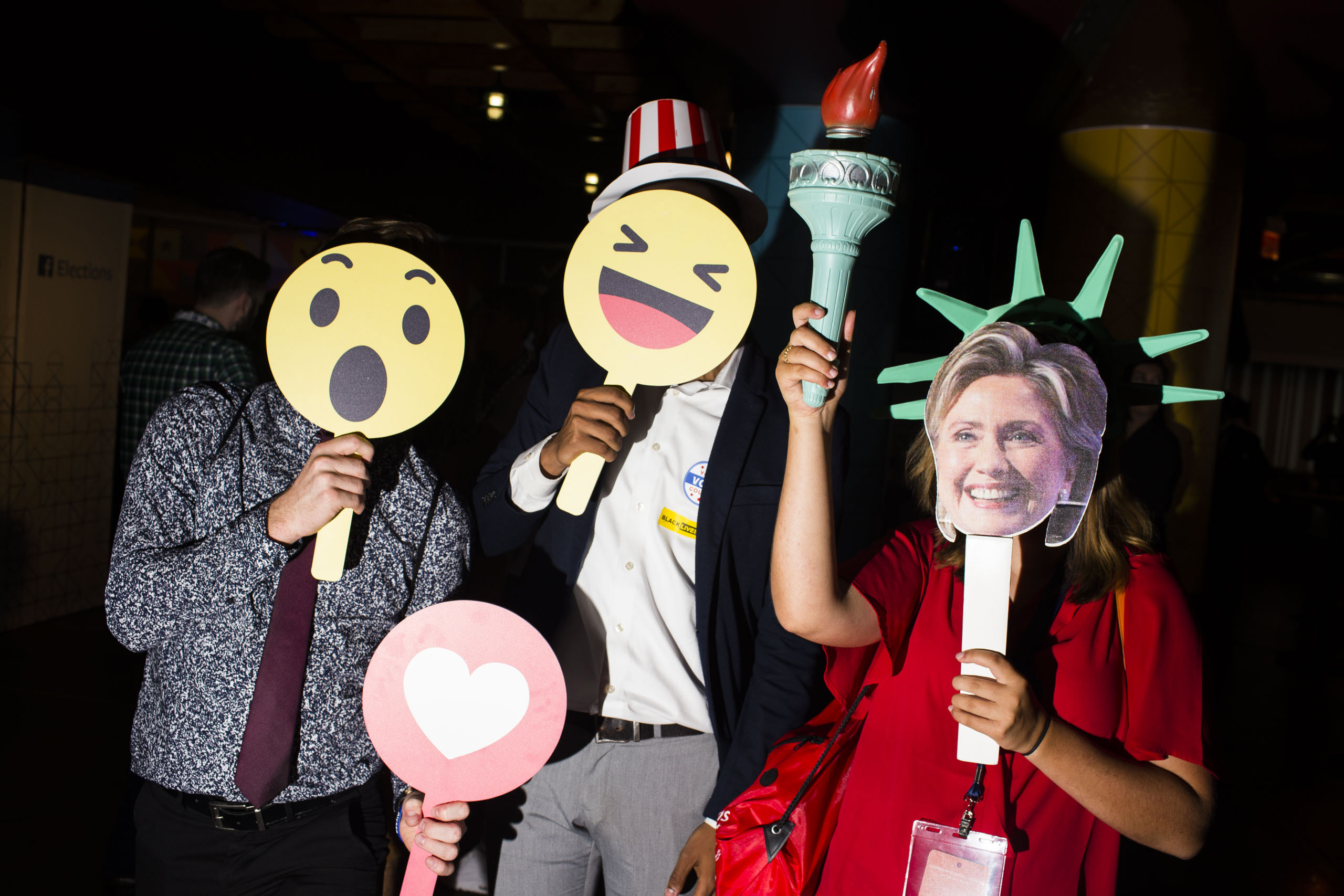 Members of College Democrats of America pose for pictures in the Instagram/ Facebook lounge at the 2016 Democratic National Convention in Philadelphia, on July 25, 2016.